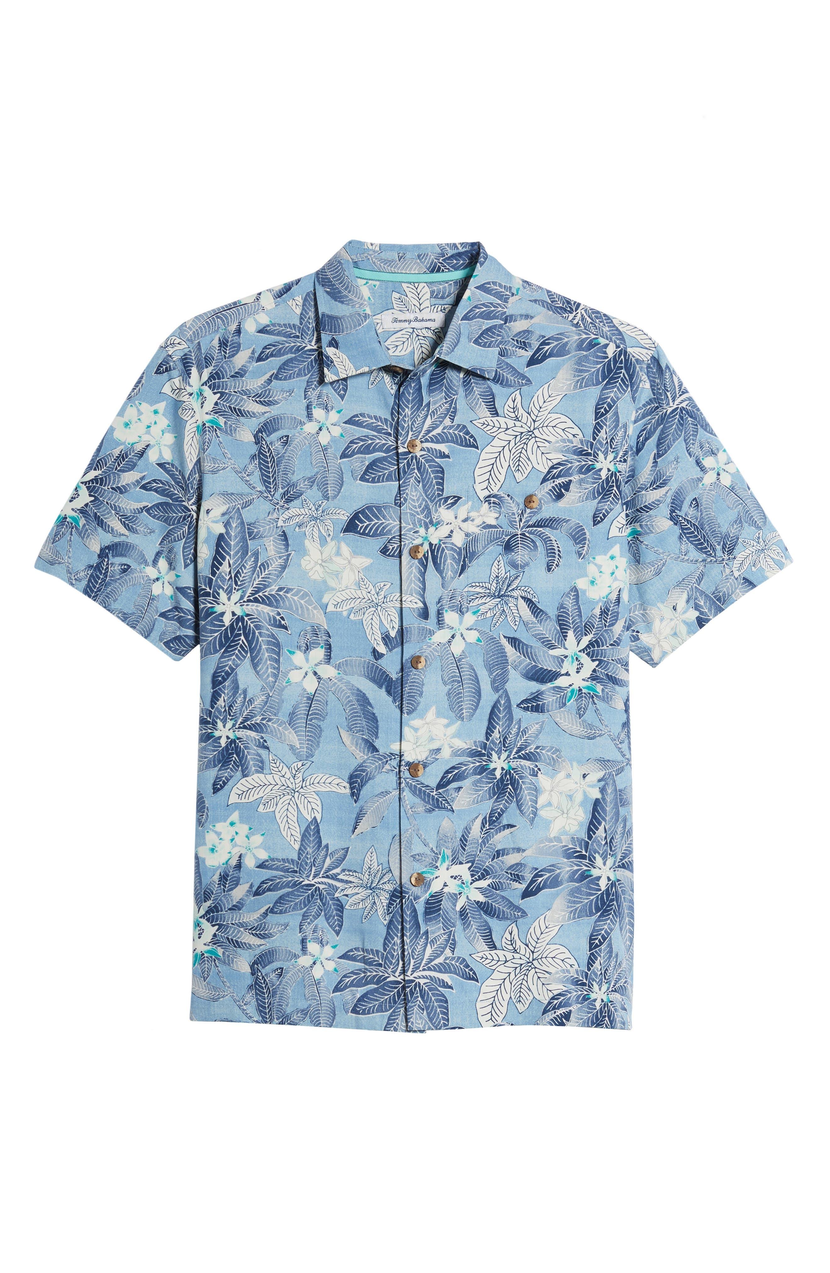 El Medano Jungle Silk Camp Shirt,                             Alternate thumbnail 6, color,                             Blue Aster