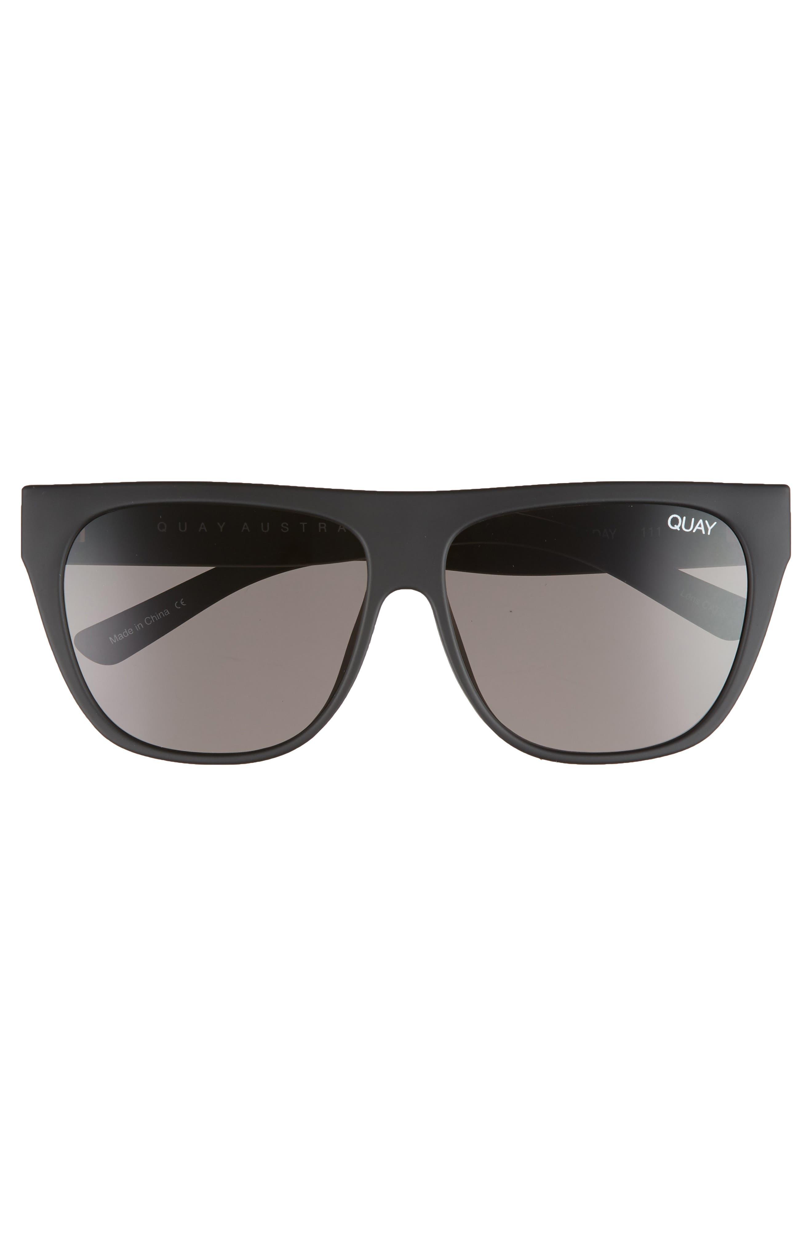 x Tony Bianco Drama by Day 55mm Square Sunglasses,                             Alternate thumbnail 3, color,                             Black/ Smoke