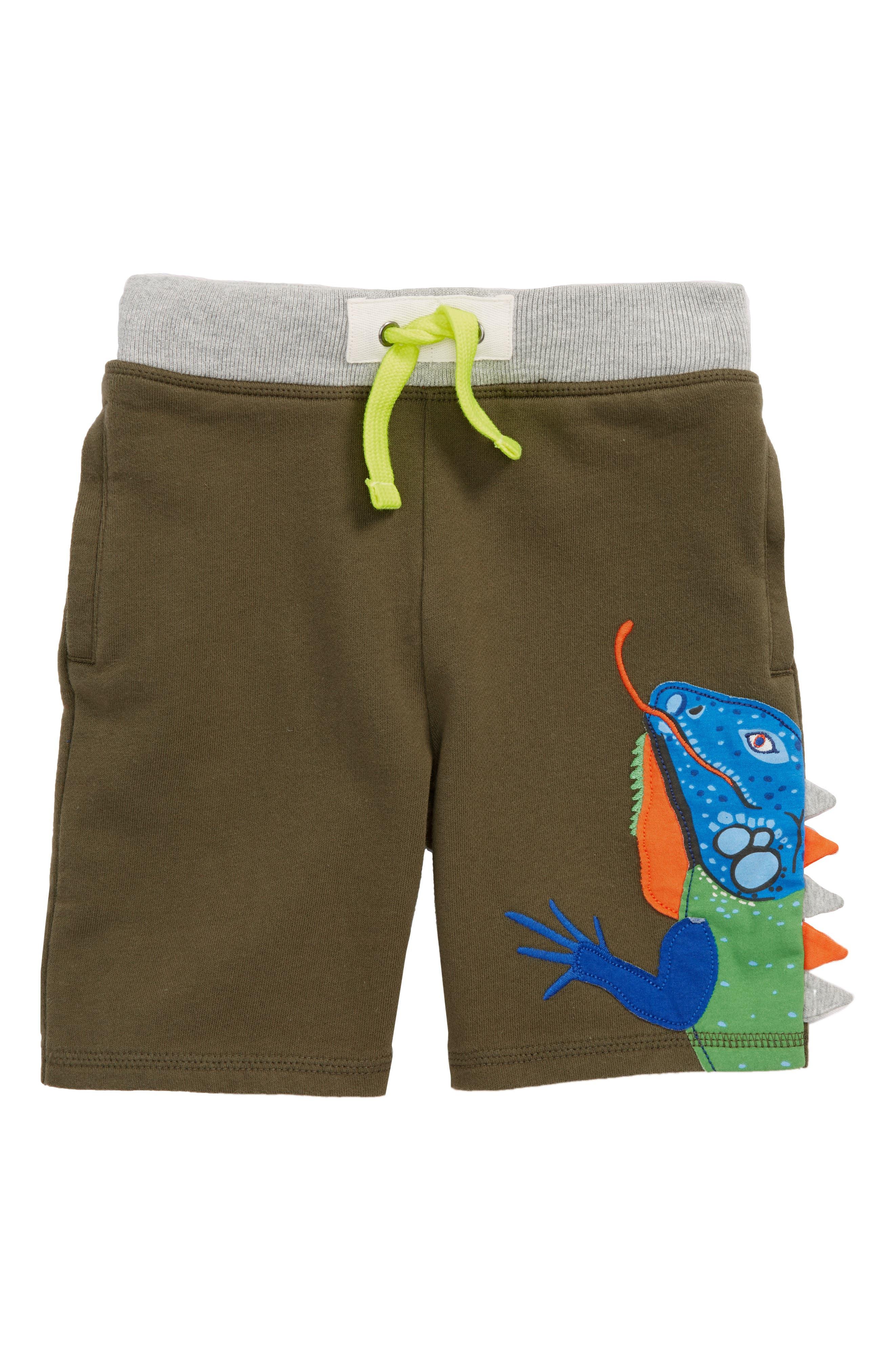 Alternate Image 1 Selected - Mini Boden Iguana Appliqué Sweatshorts (Toddler Boys, Little Boys & Big Boys)