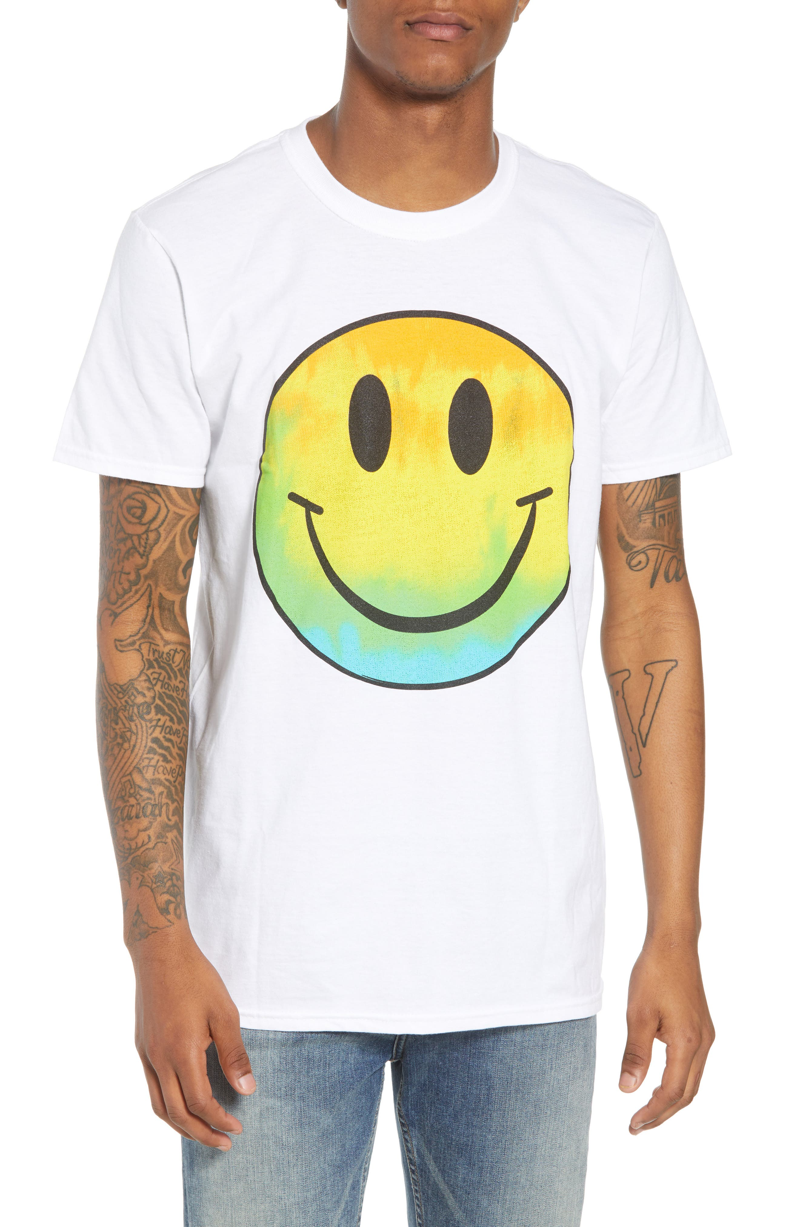 Tie Dye Smiley Face T-Shirt,                             Main thumbnail 1, color,                             White Tie Dye Smiley Face