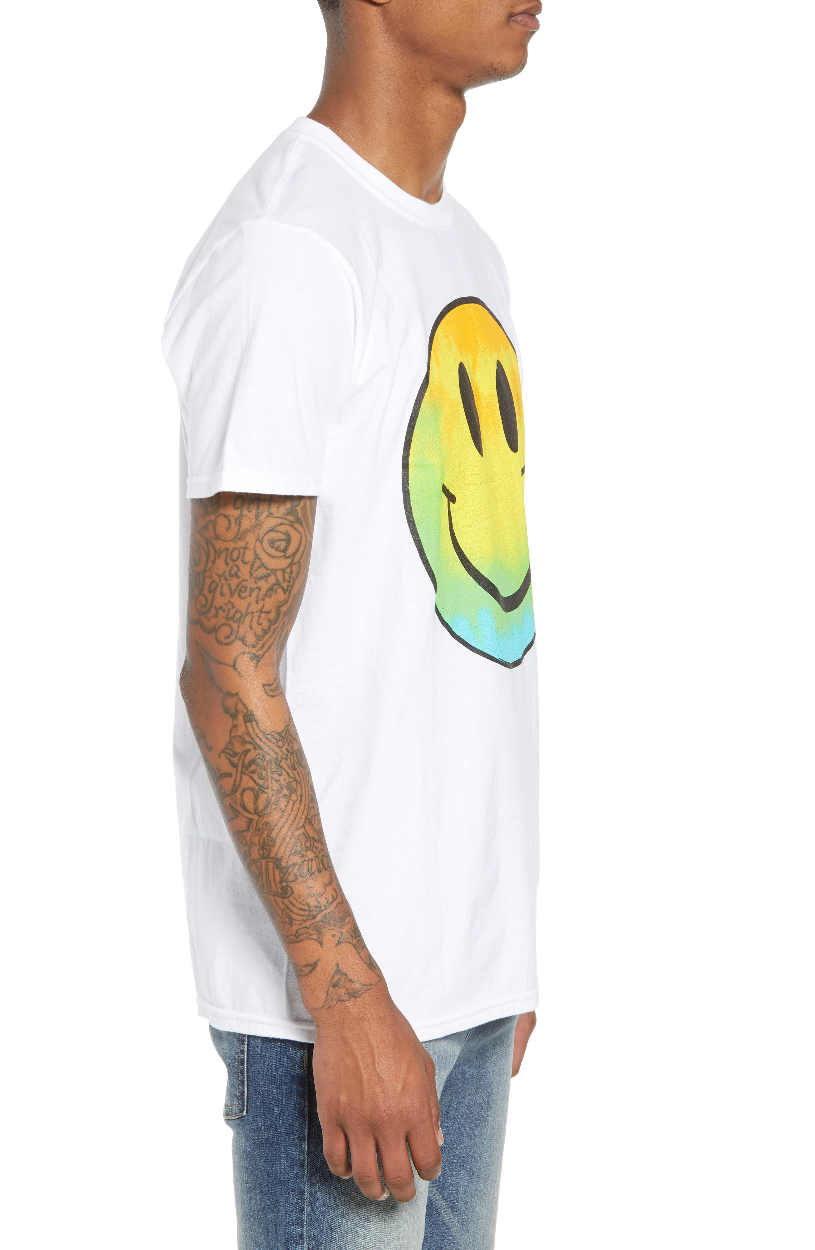 Tie Dye Smiley Face T-Shirt,                             Alternate thumbnail 3, color,                             White Tie Dye Smiley Face