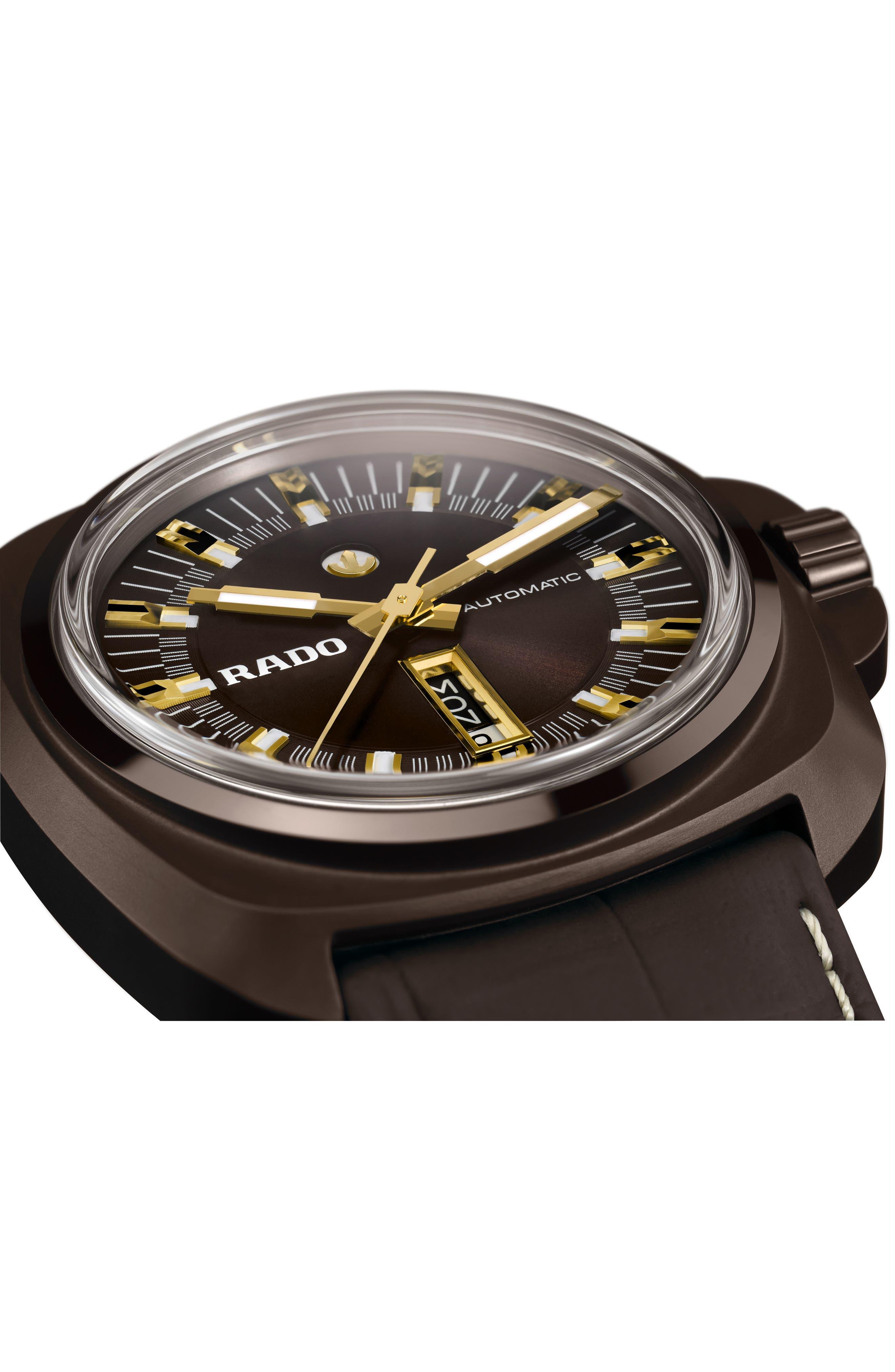 Alternate Image 3  - RADO HyperChrome 1616 Automatic Leather Strap Watch, 46mm
