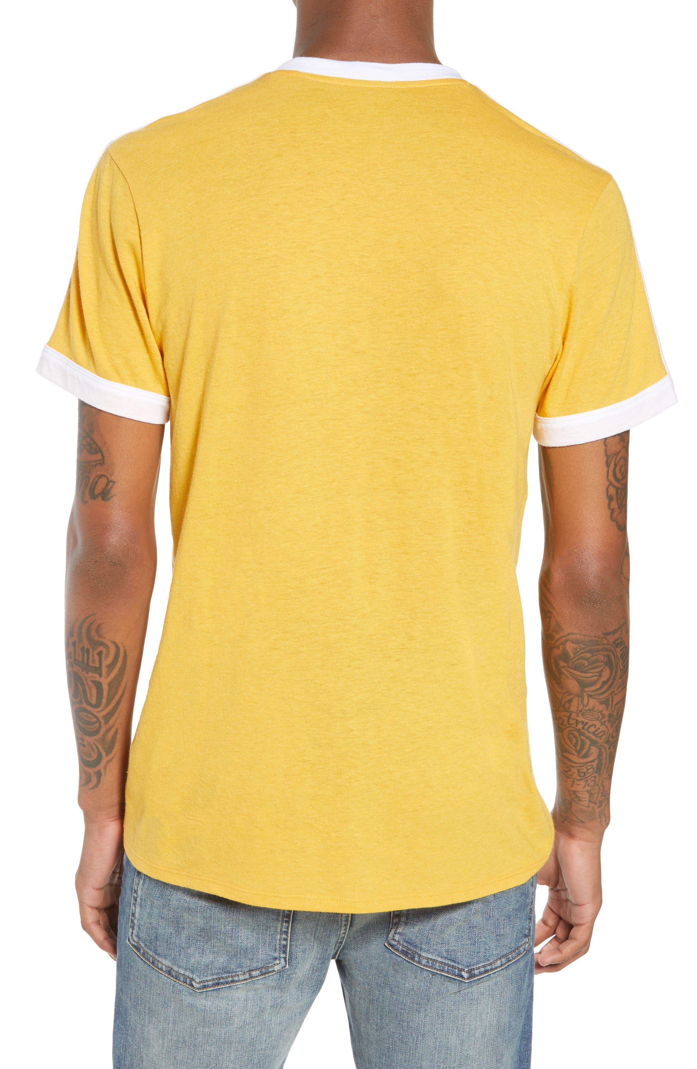 Vintage Athletic V-Neck T-Shirt,                             Alternate thumbnail 2, color,                             Yellow Mineral / White Stripe