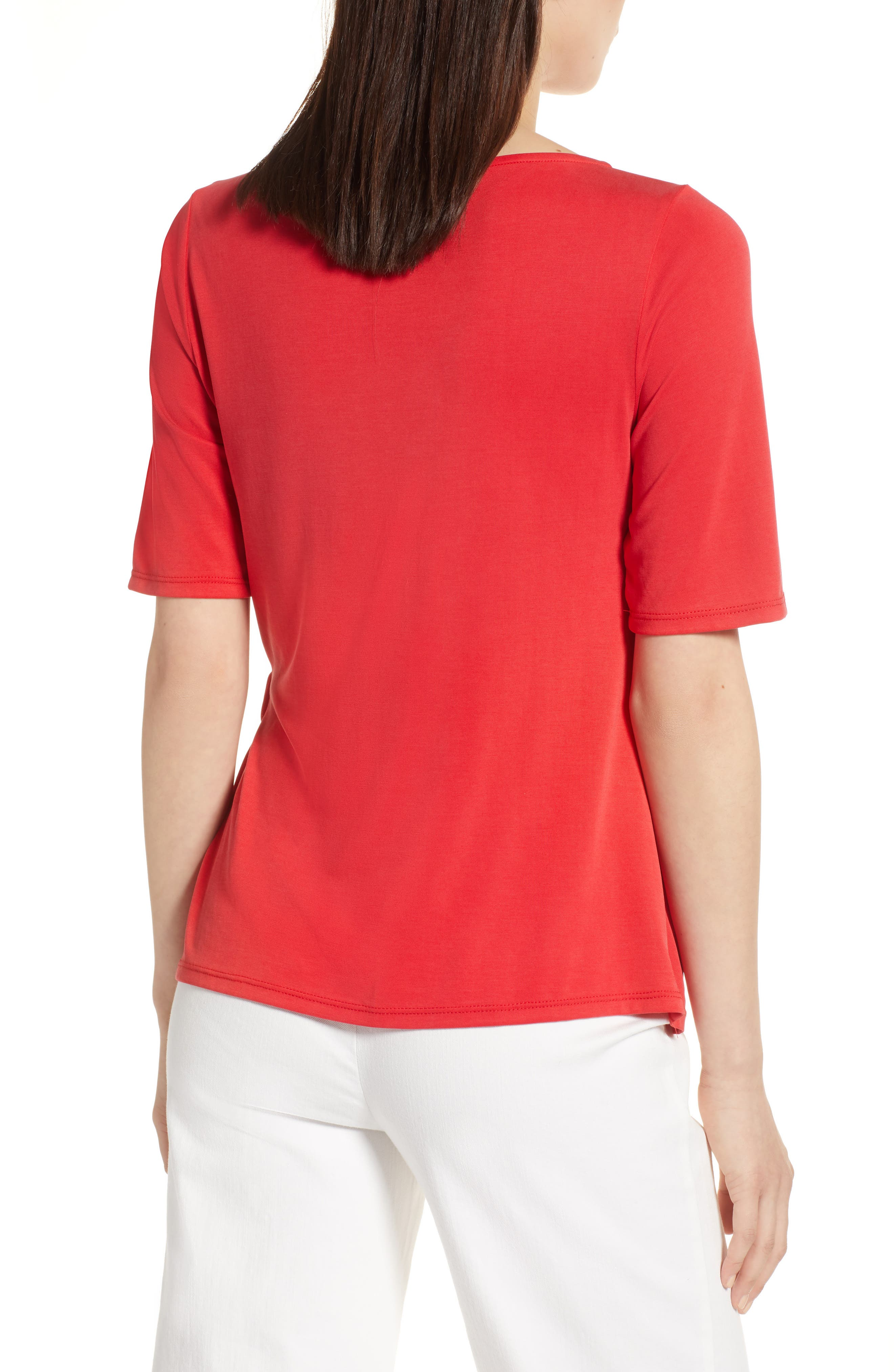 Ruched Waist Tee,                             Alternate thumbnail 2, color,                             Red