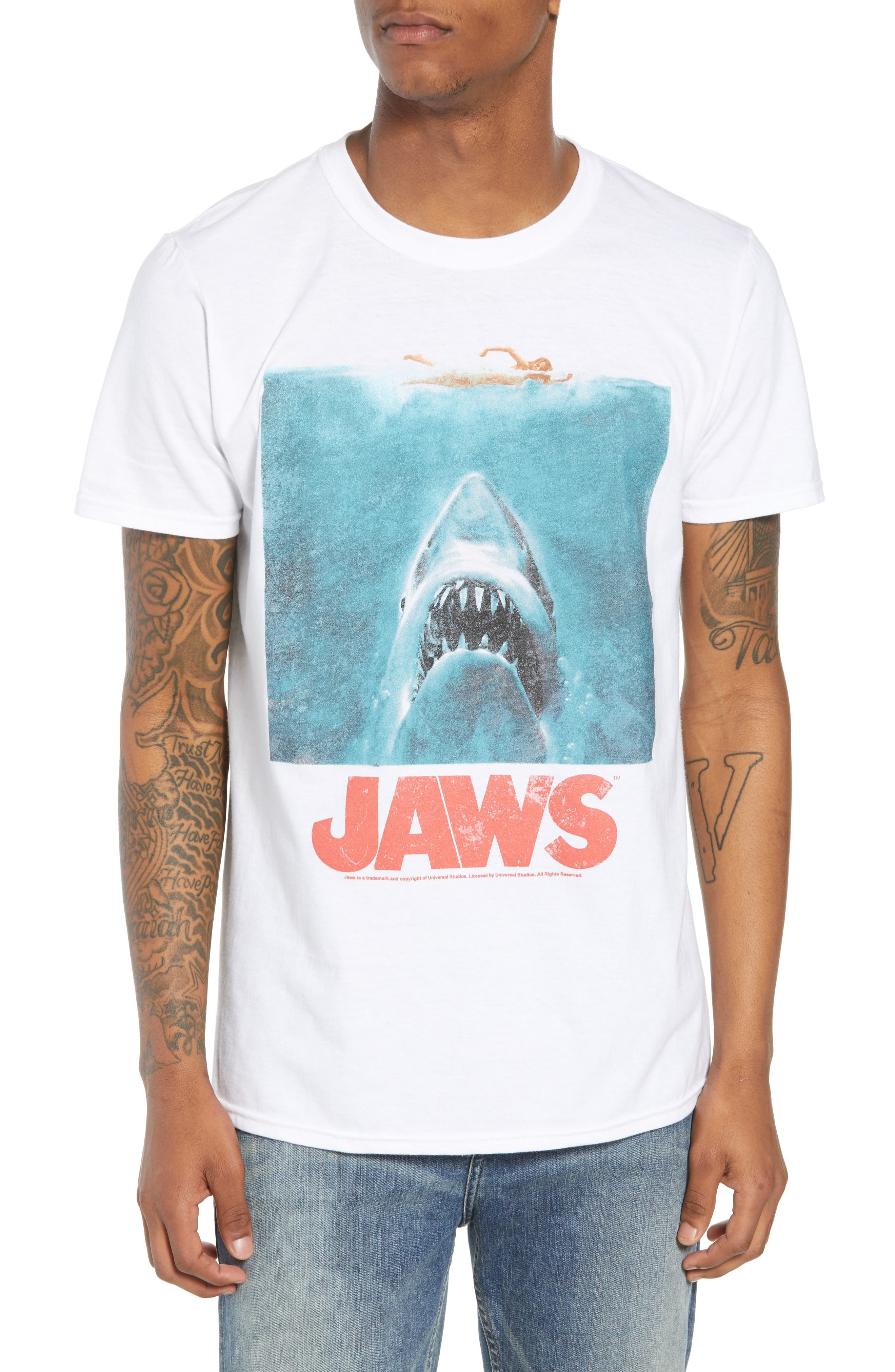 Jaws T-Shirt,                         Main,                         color, White Jaws