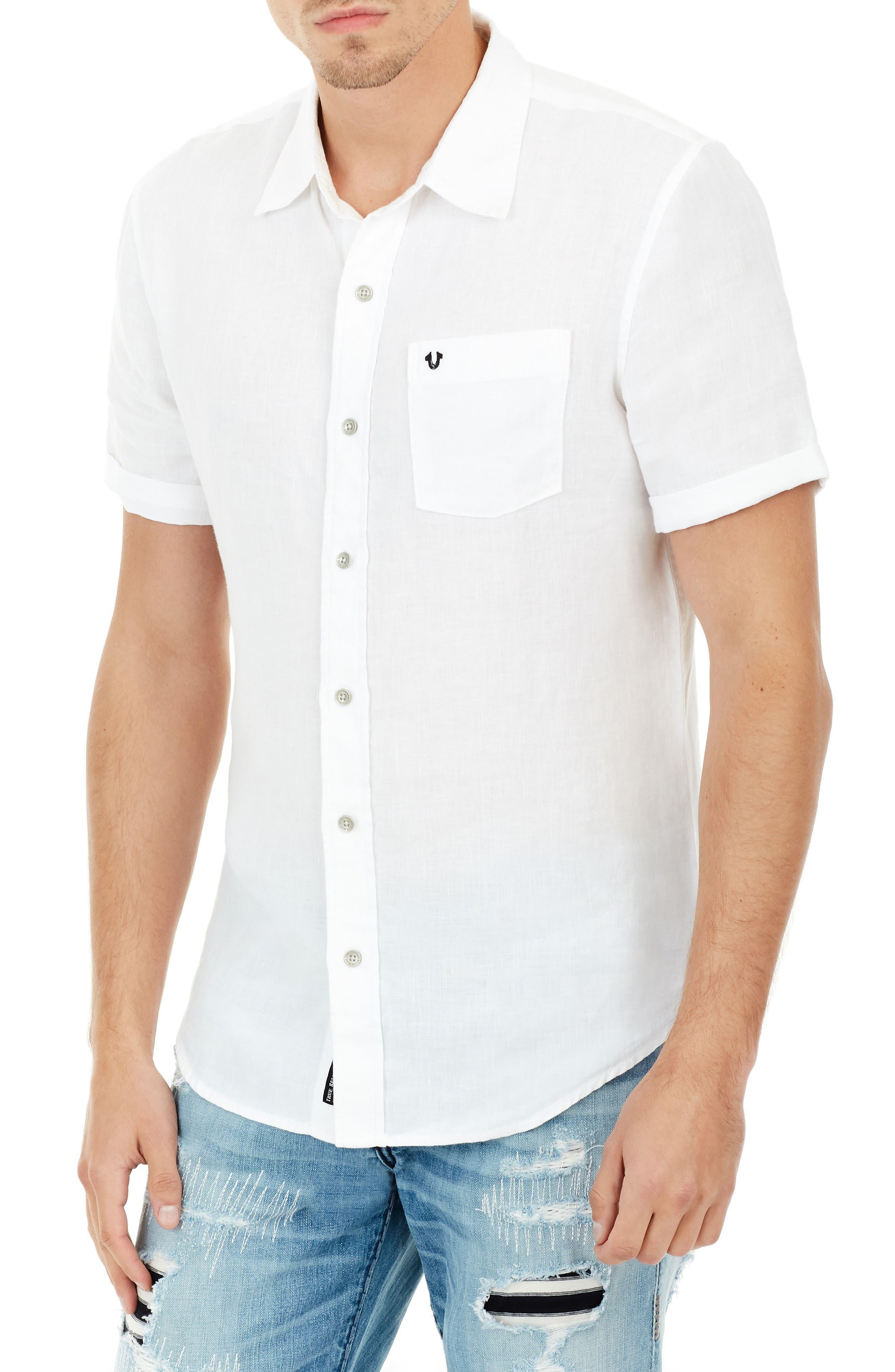 True Religion Brand Jeans Roll Cuff Linen Shirt