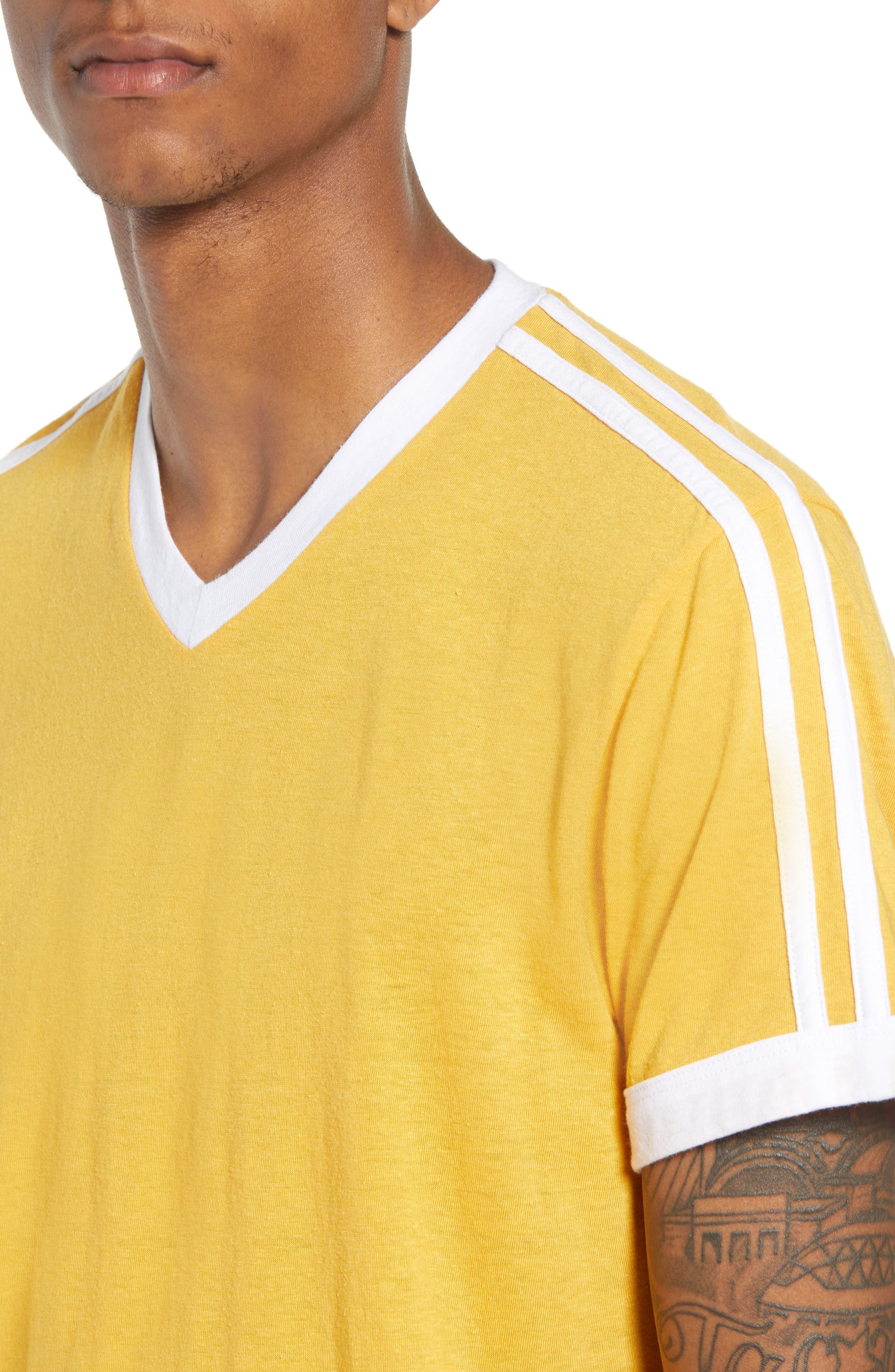 Vintage Athletic V-Neck T-Shirt,                             Alternate thumbnail 4, color,                             Yellow Mineral / White Stripe