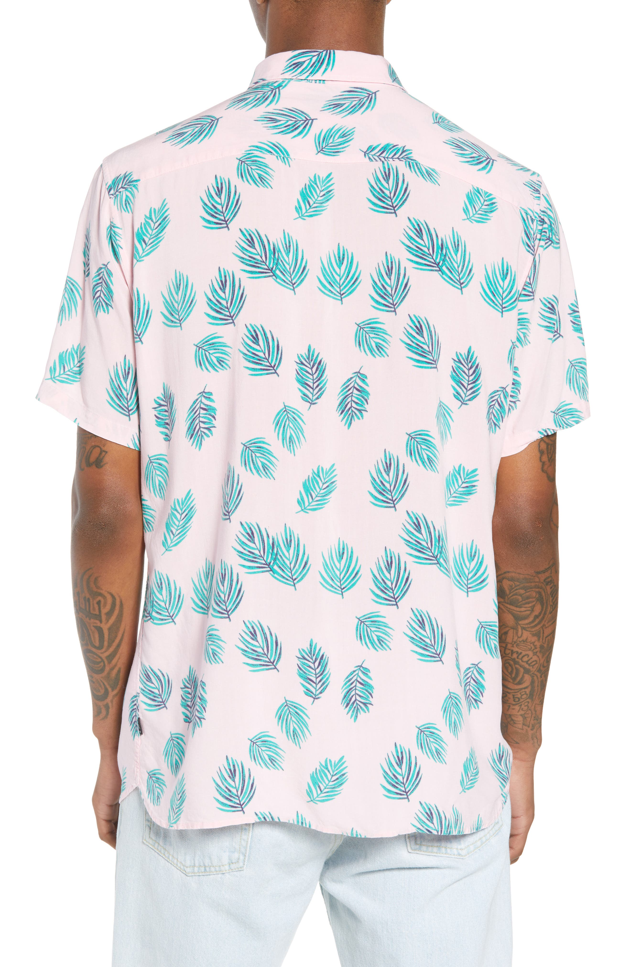 Holiday Woven Shirt,                             Alternate thumbnail 2, color,                             Pink Fern