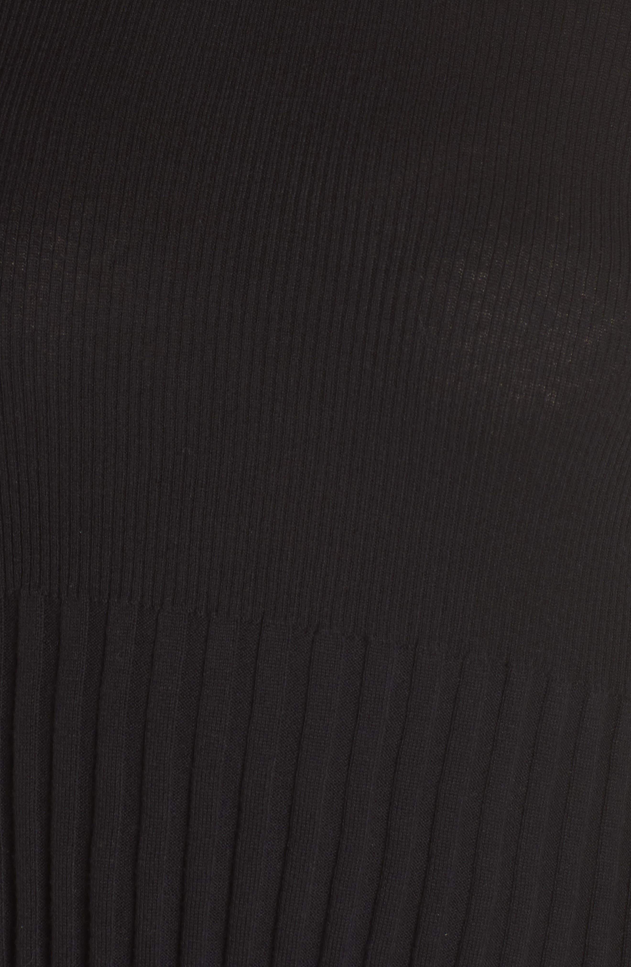 Ribbed Cotton Blend Sweater,                             Alternate thumbnail 6, color,                             Black