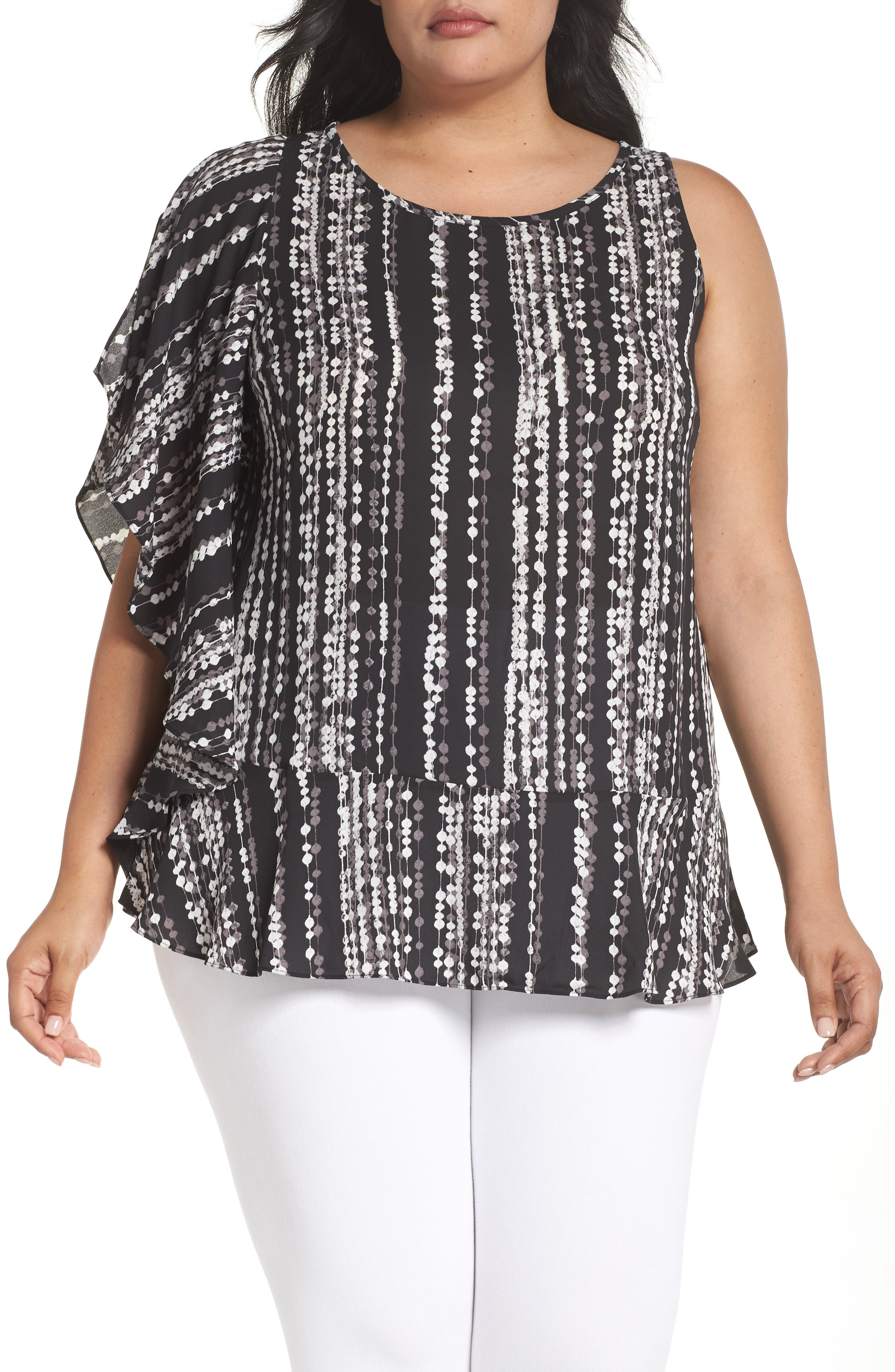 Ruffled One-Shoulder Top,                         Main,                         color, Black String Of Beads