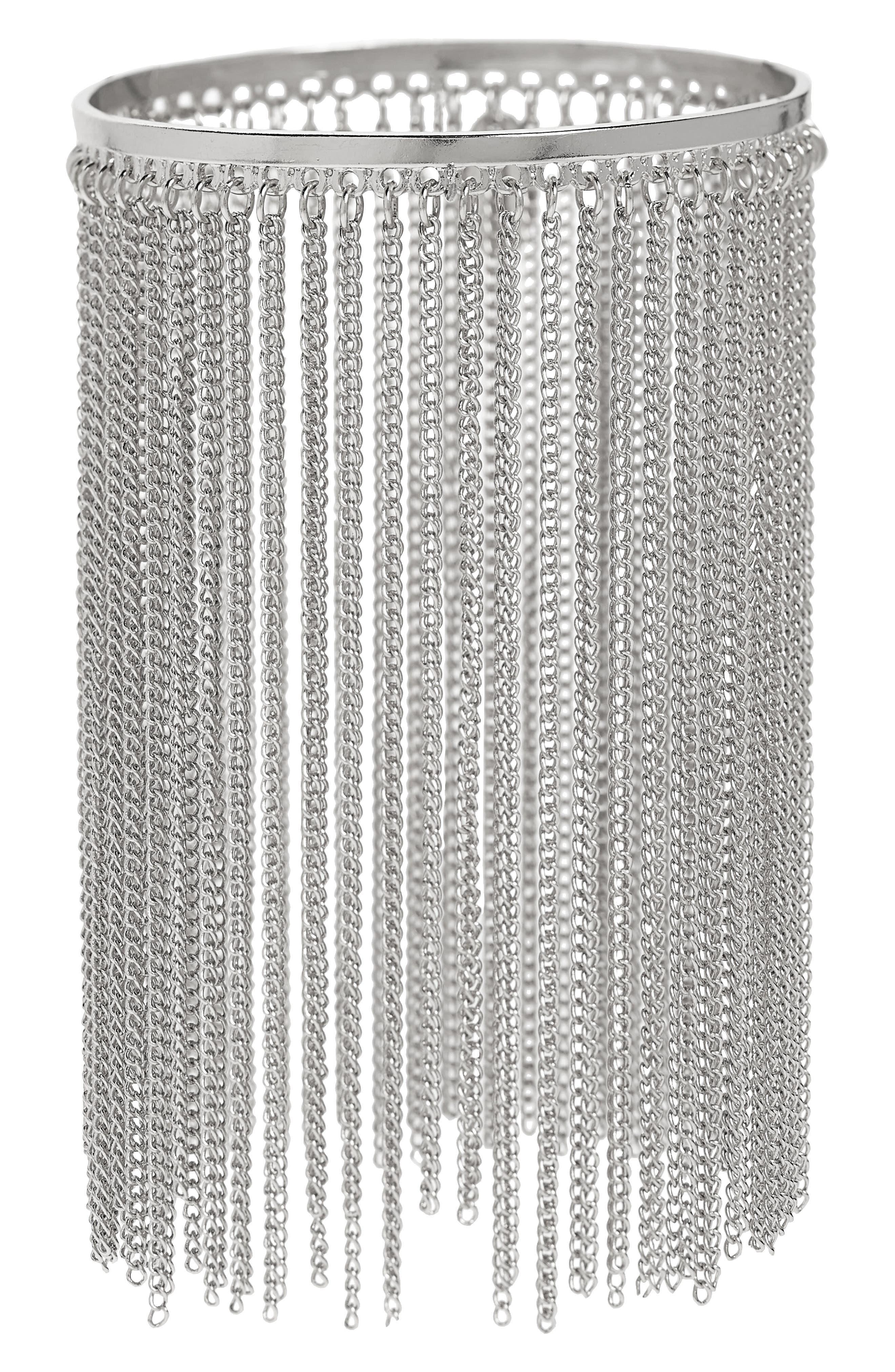 Chain Fringe Bracelet,                         Main,                         color, Silver