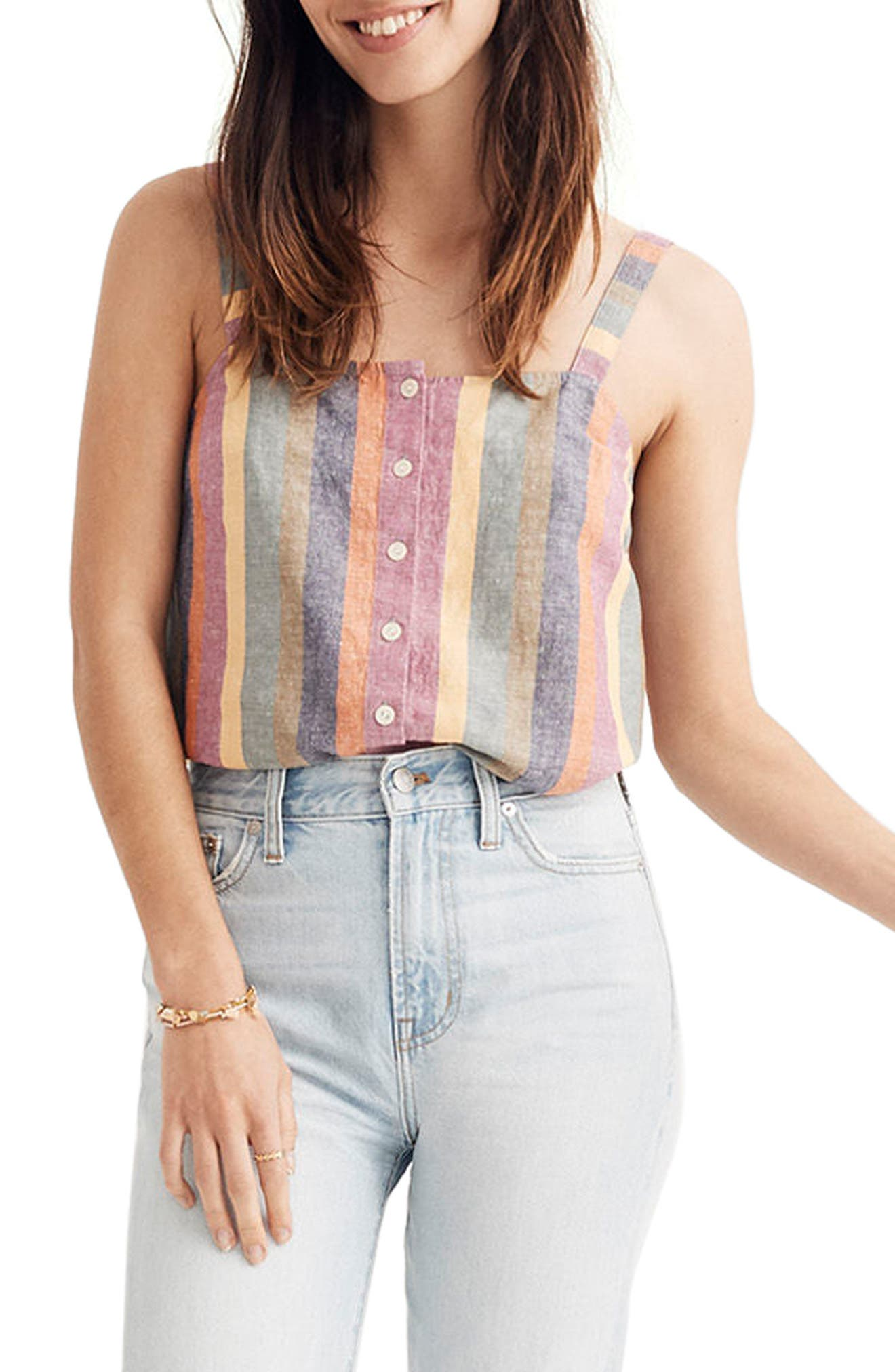 Rainbow Stripe Button Front Tank,                             Main thumbnail 1, color,                             Meadow Green