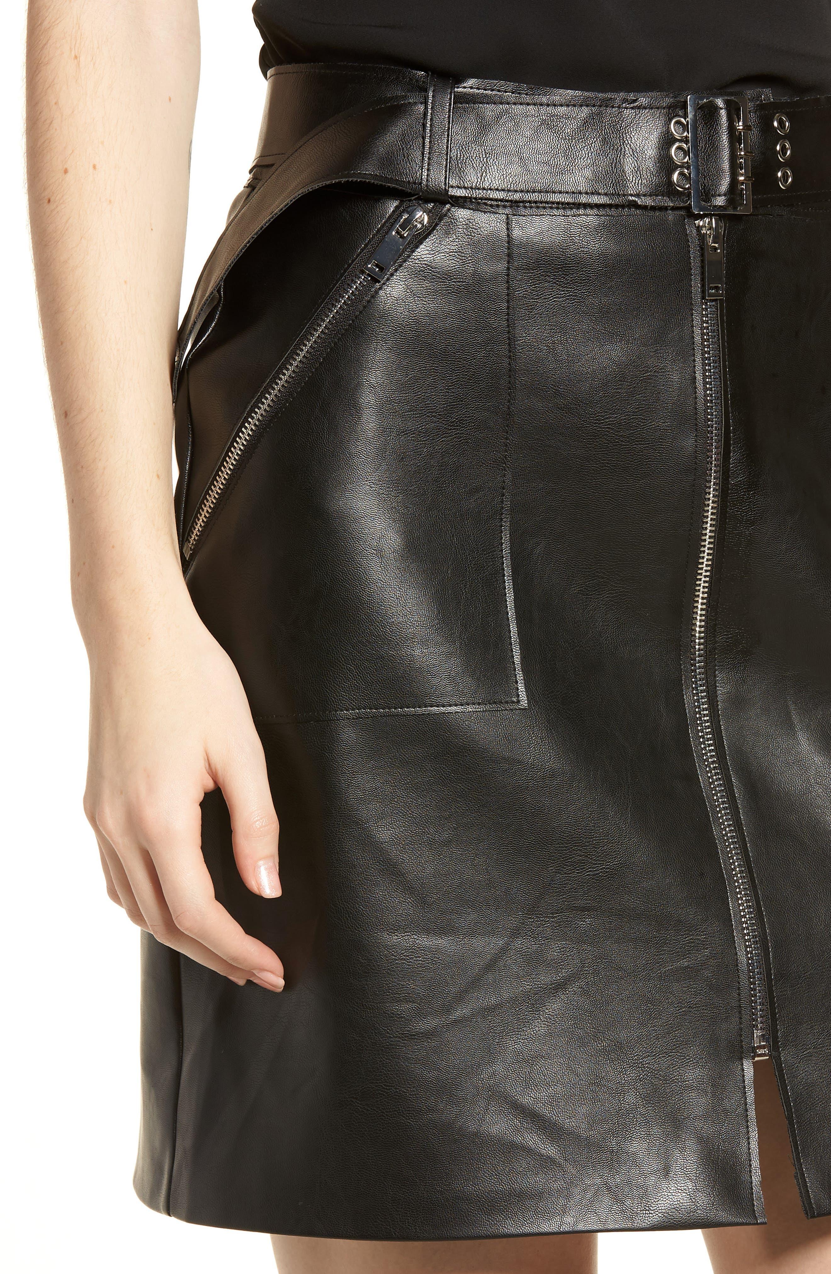 Faux Leather Miniskirt,                             Alternate thumbnail 4, color,                             Black