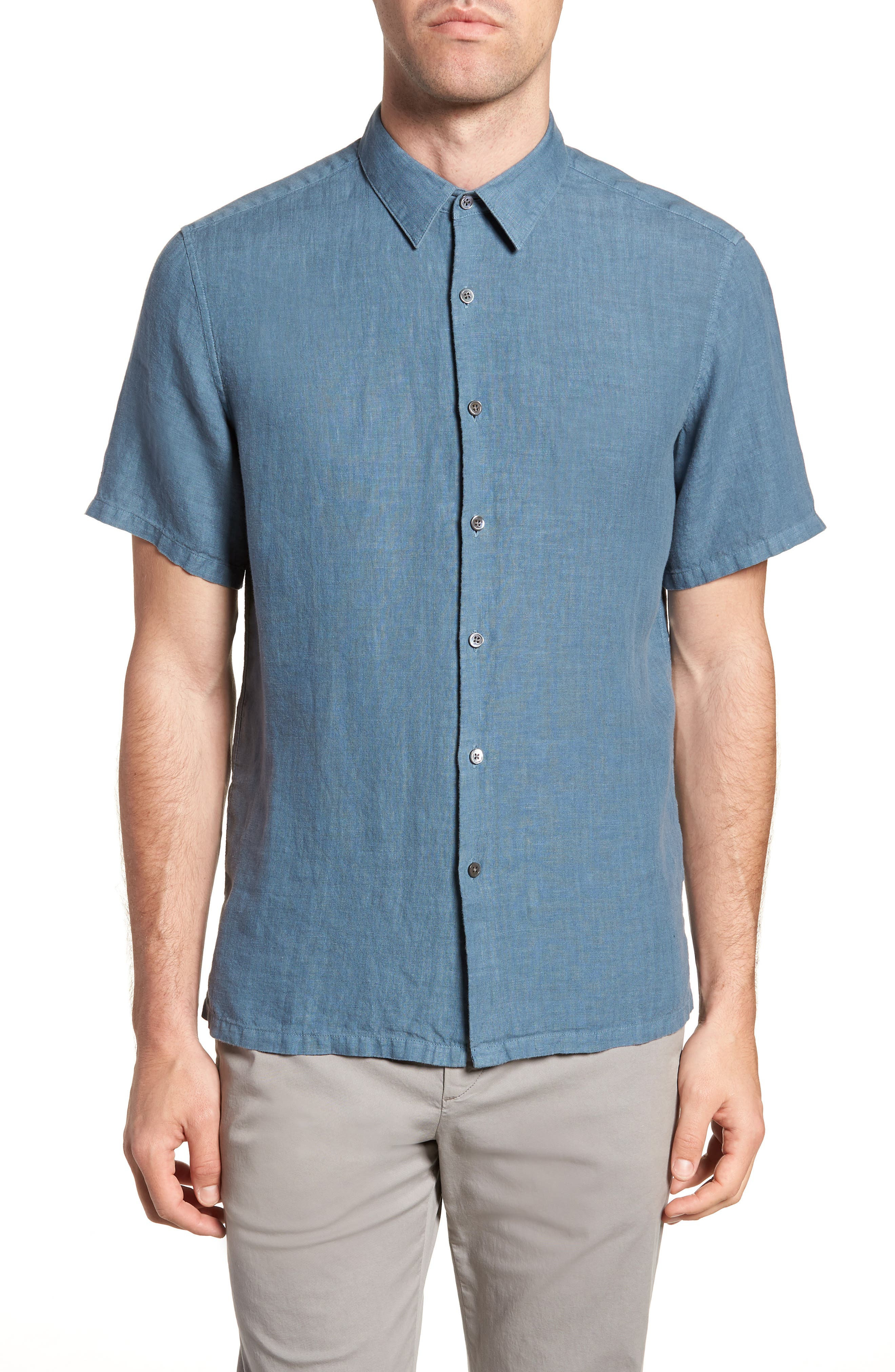 Irving Trim Fit Linen Short Sleeve Sport Shirt,                         Main,                         color, Hydro