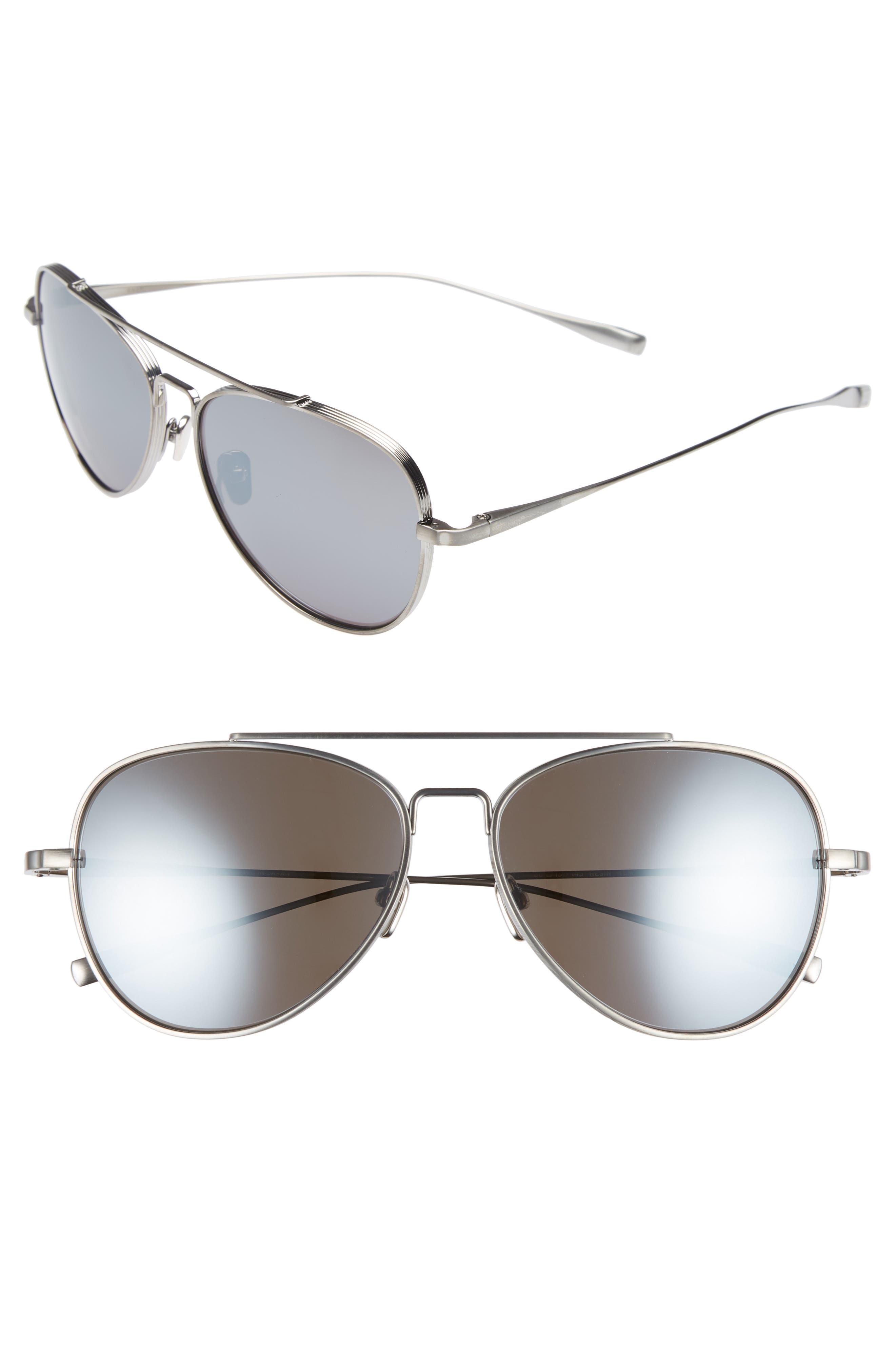 60mm Polarized Aviator Sunglasses,                         Main,                         color, Tempest