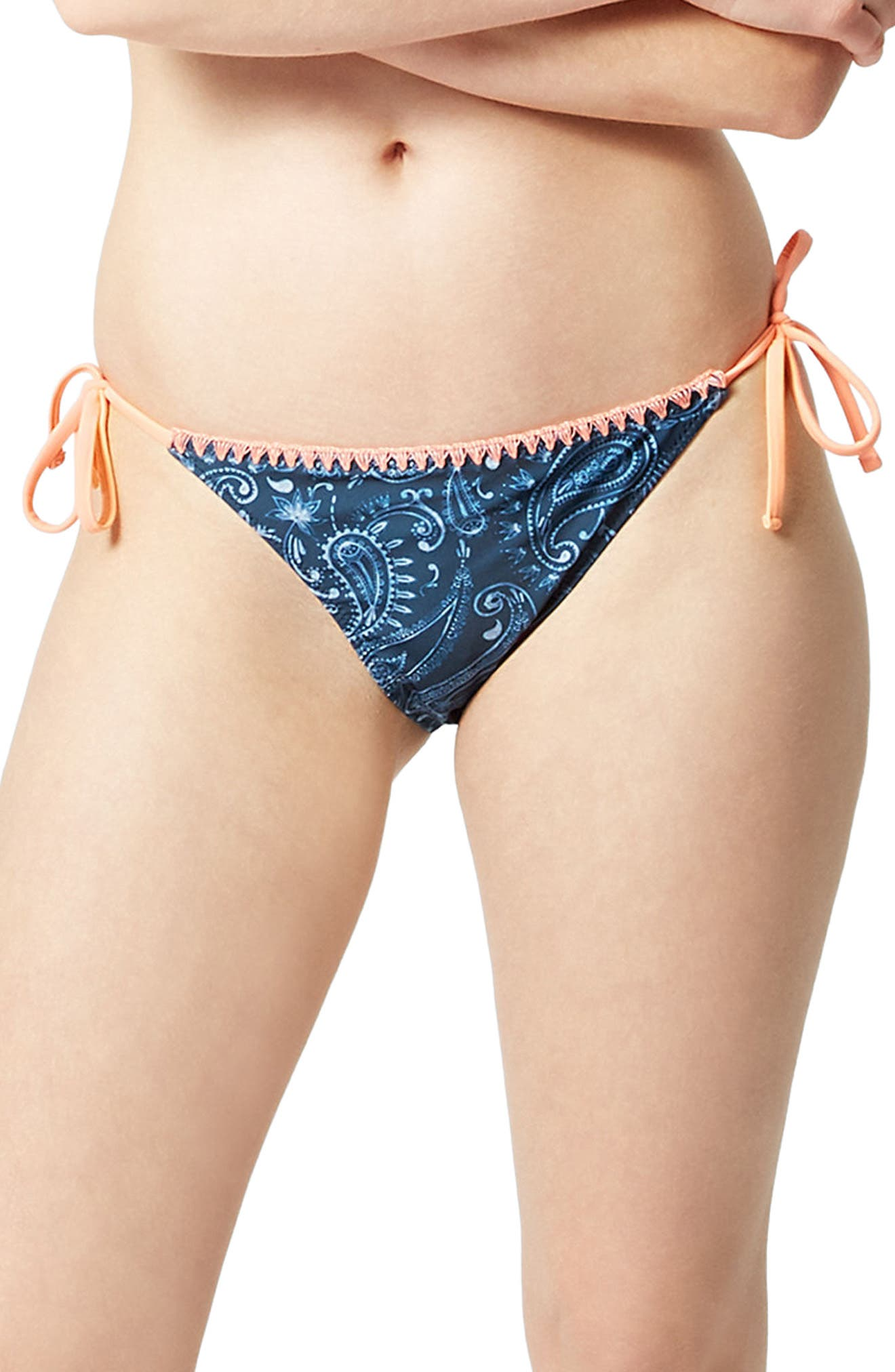 Purity Reversible Bikini Bottoms,                             Main thumbnail 1, color,                             Printed/ Oxblood