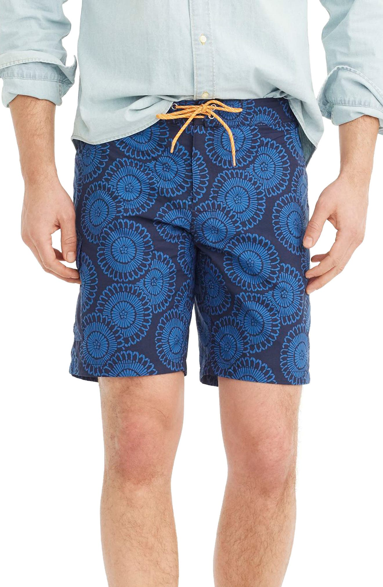 Floral Print Board Shorts,                         Main,                         color, Indigo Blue