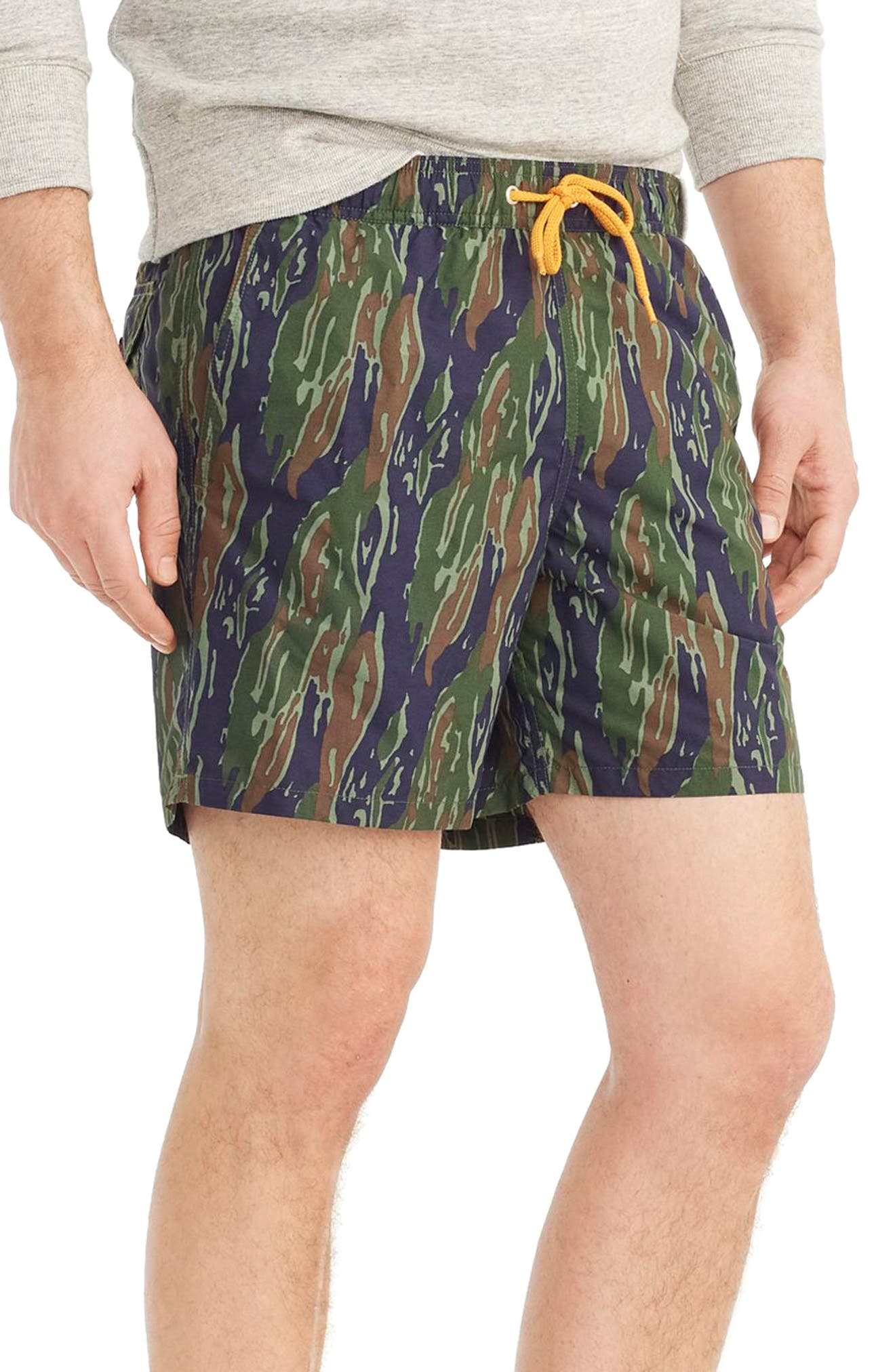 J.Crew Camo Swim Trunks,                             Alternate thumbnail 3, color,                             Tiger Stripe Camo