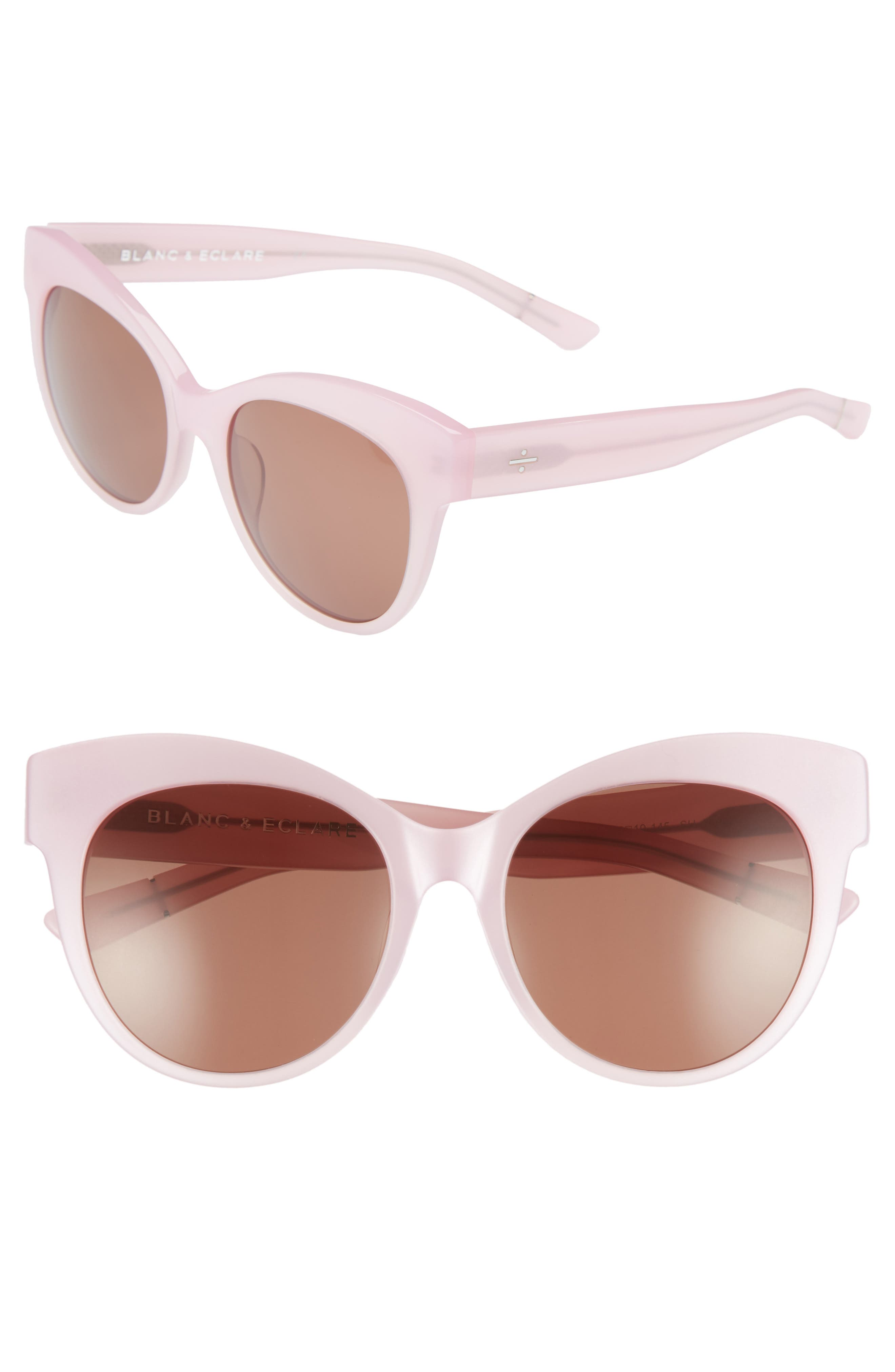 BLANC & ECLARE Paris 55mm Polarized Cat Eye Sunglasses,                             Main thumbnail 1, color,                             Blush