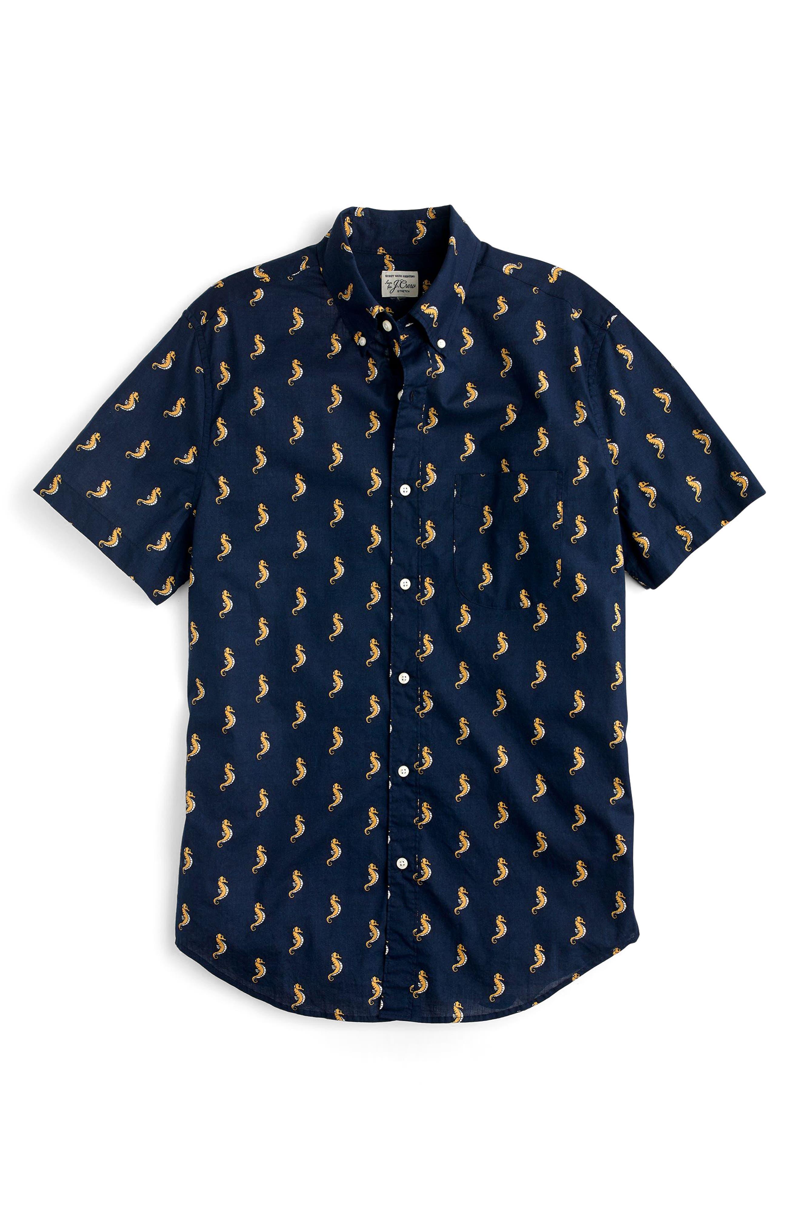 Slim Fit Secret Wash Short Sleeve Seahorse Print Sport Shirt,                             Alternate thumbnail 3, color,                             Ciderwood Ink