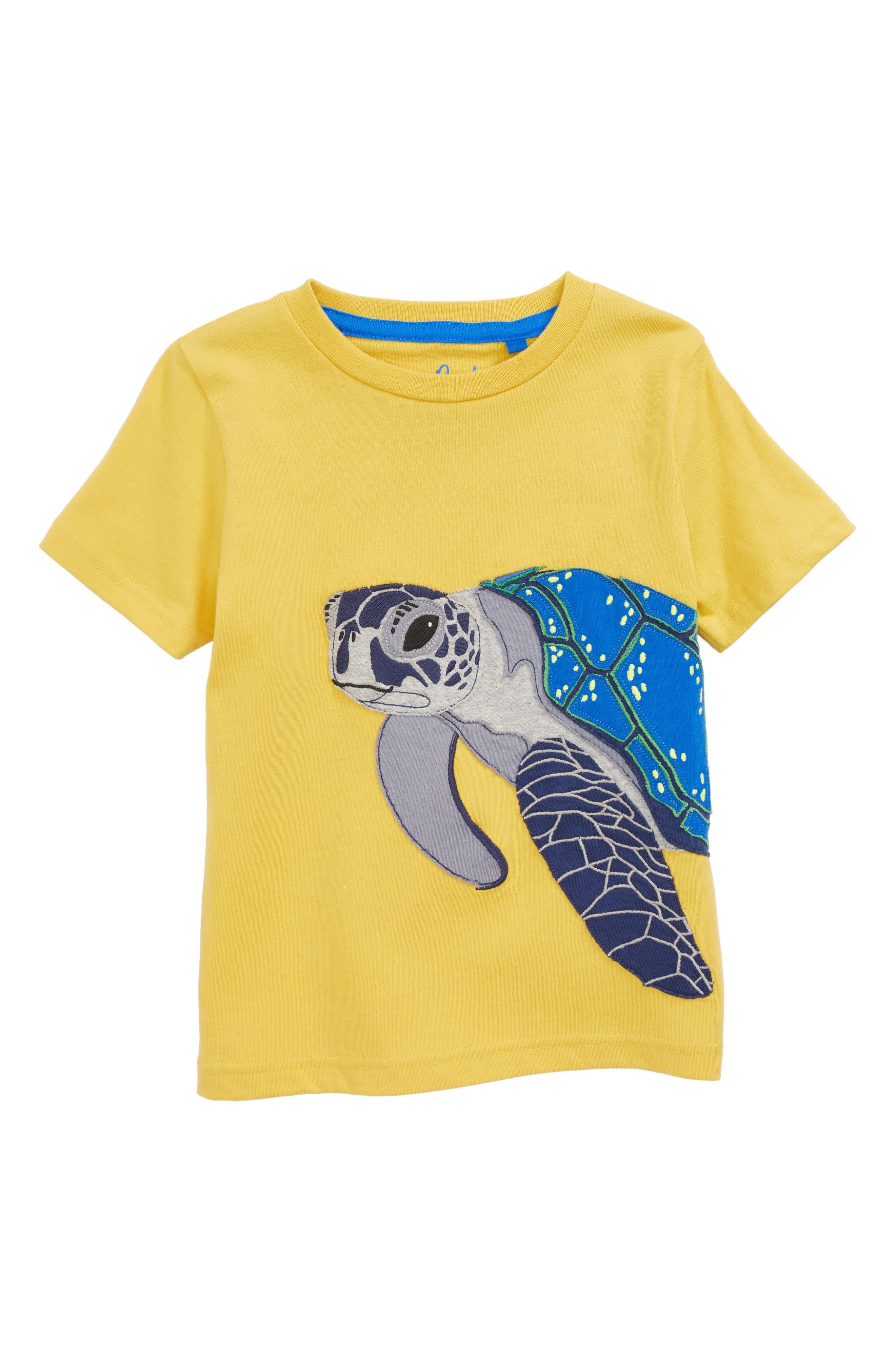 Turtle Appliqué T-Shirt,                             Main thumbnail 1, color,                             Sweetcorn Yellow Sea Turtle