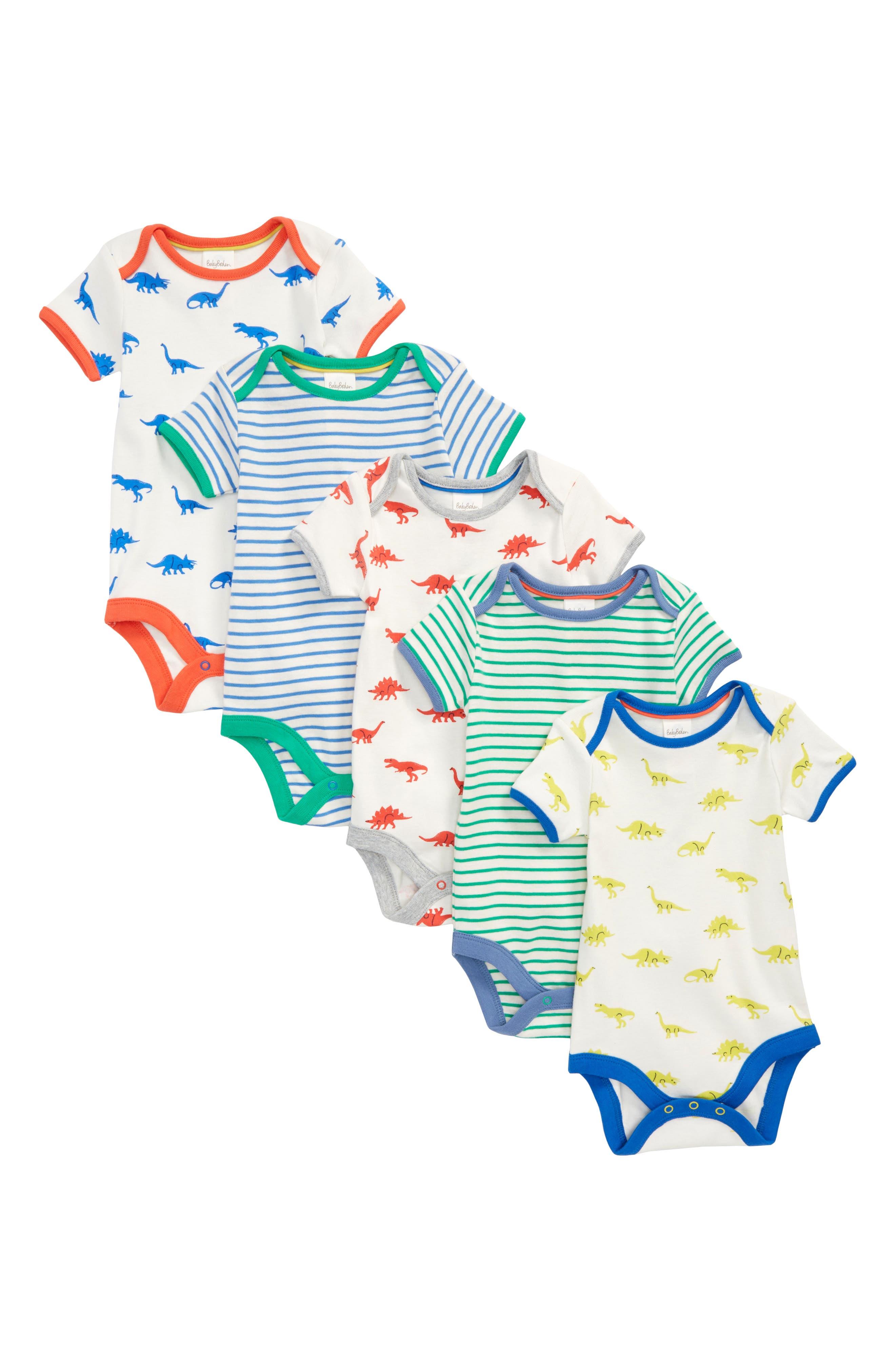 Mini Boden Dino 5-Pack Bodysuits (Baby Boys)