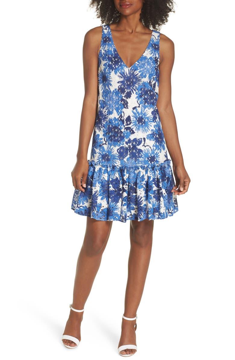 La Costa Print Ruffle Hem Lace Dress