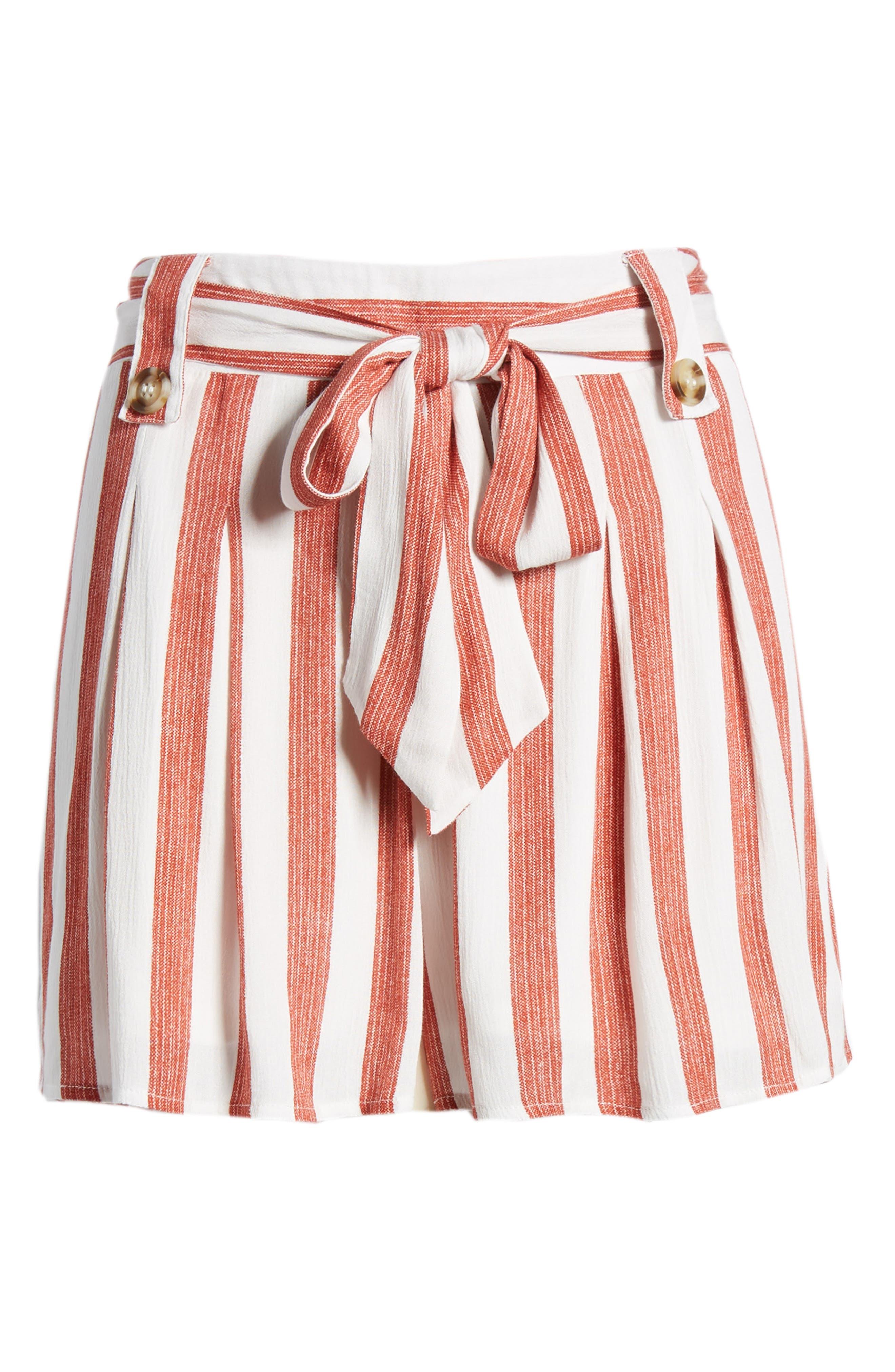 Stripe Shorts,                             Alternate thumbnail 7, color,                             Red/ Ivory
