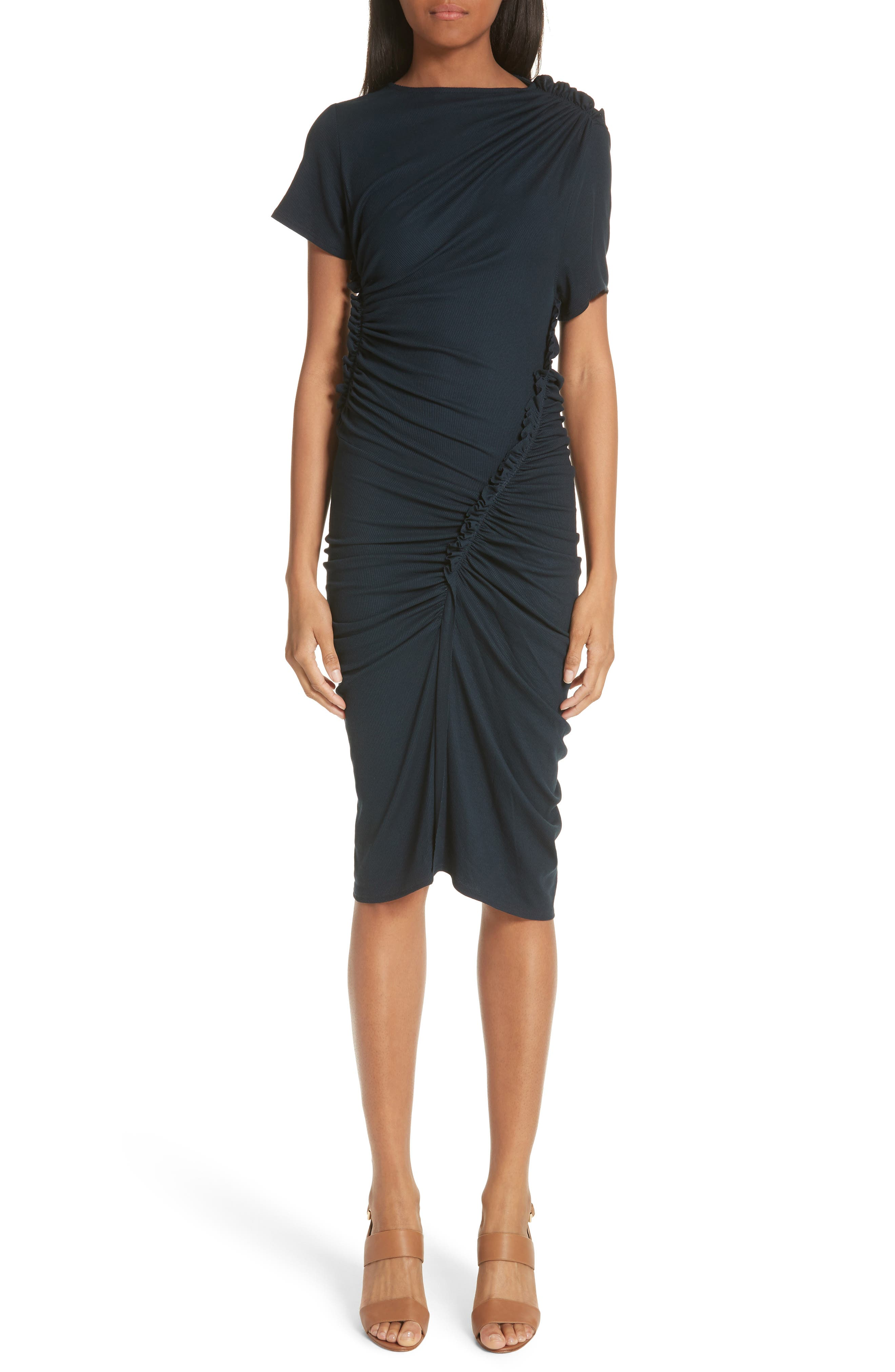 ATLEIN Ruched Rib Knit Dress