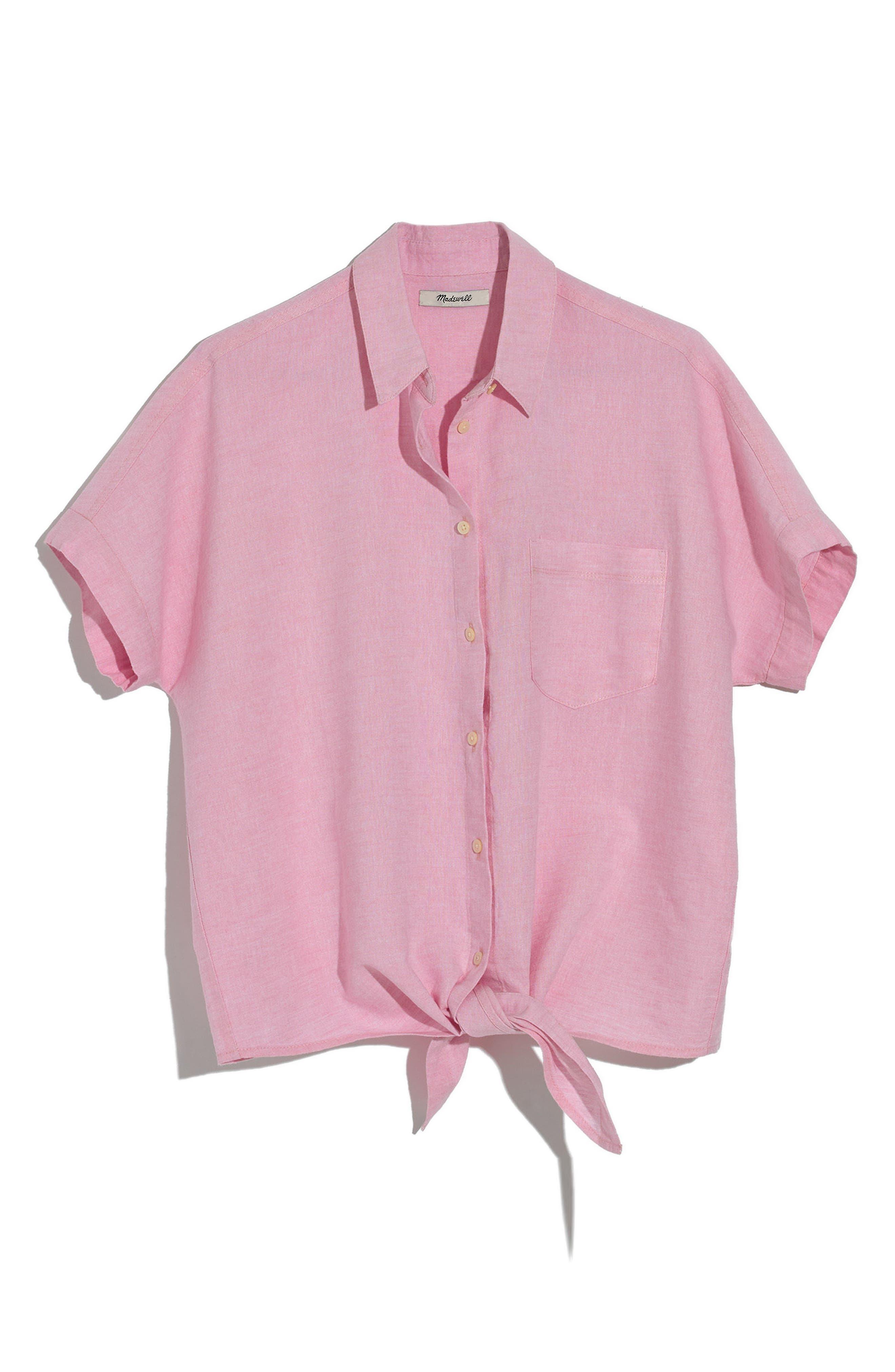 Tie Front Short Sleeve Top,                             Main thumbnail 1, color,                             Paris Pink