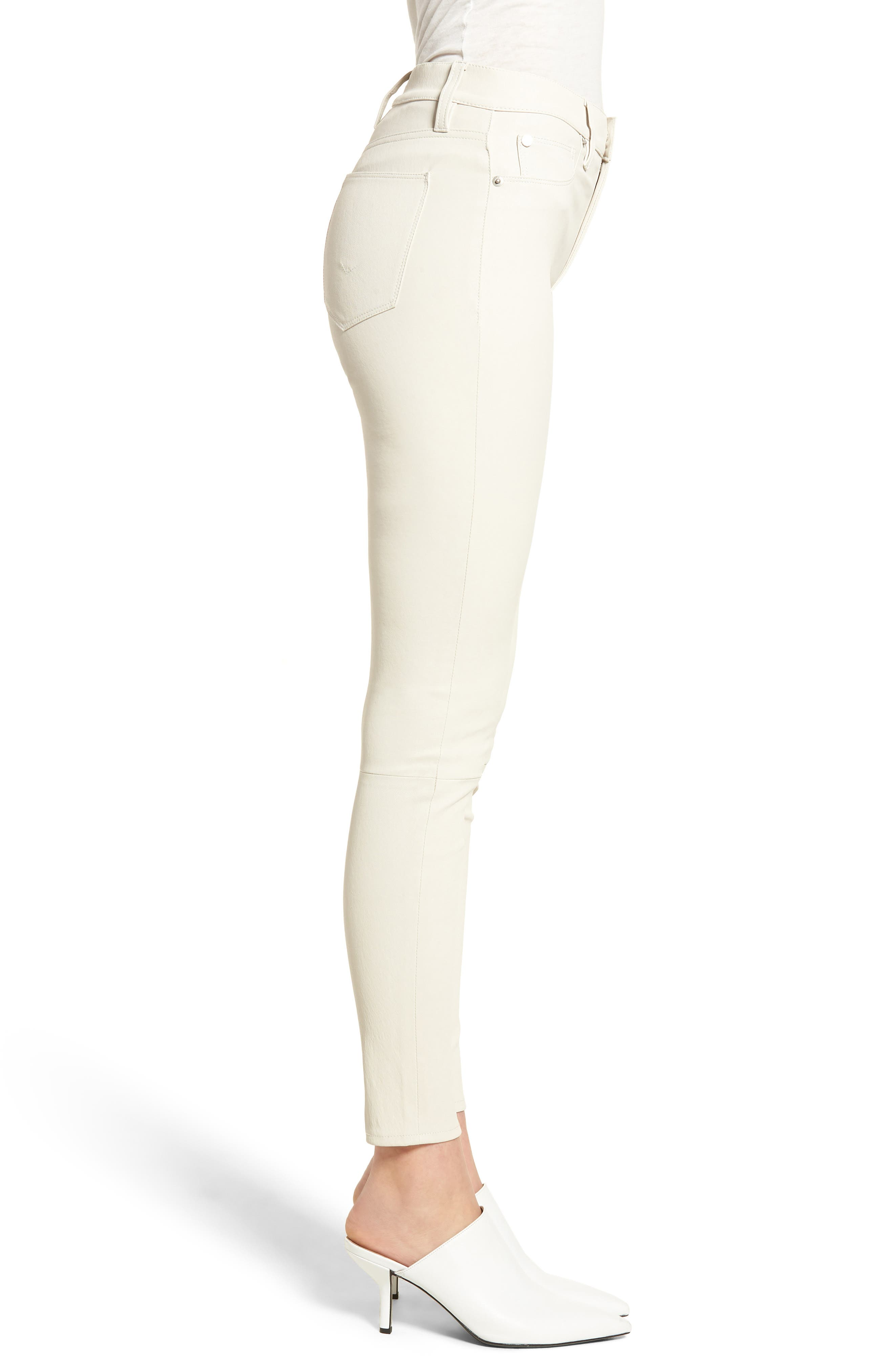 Barbara High Waist Super Skinny Leather Jeans,                             Alternate thumbnail 3, color,                             Pale White