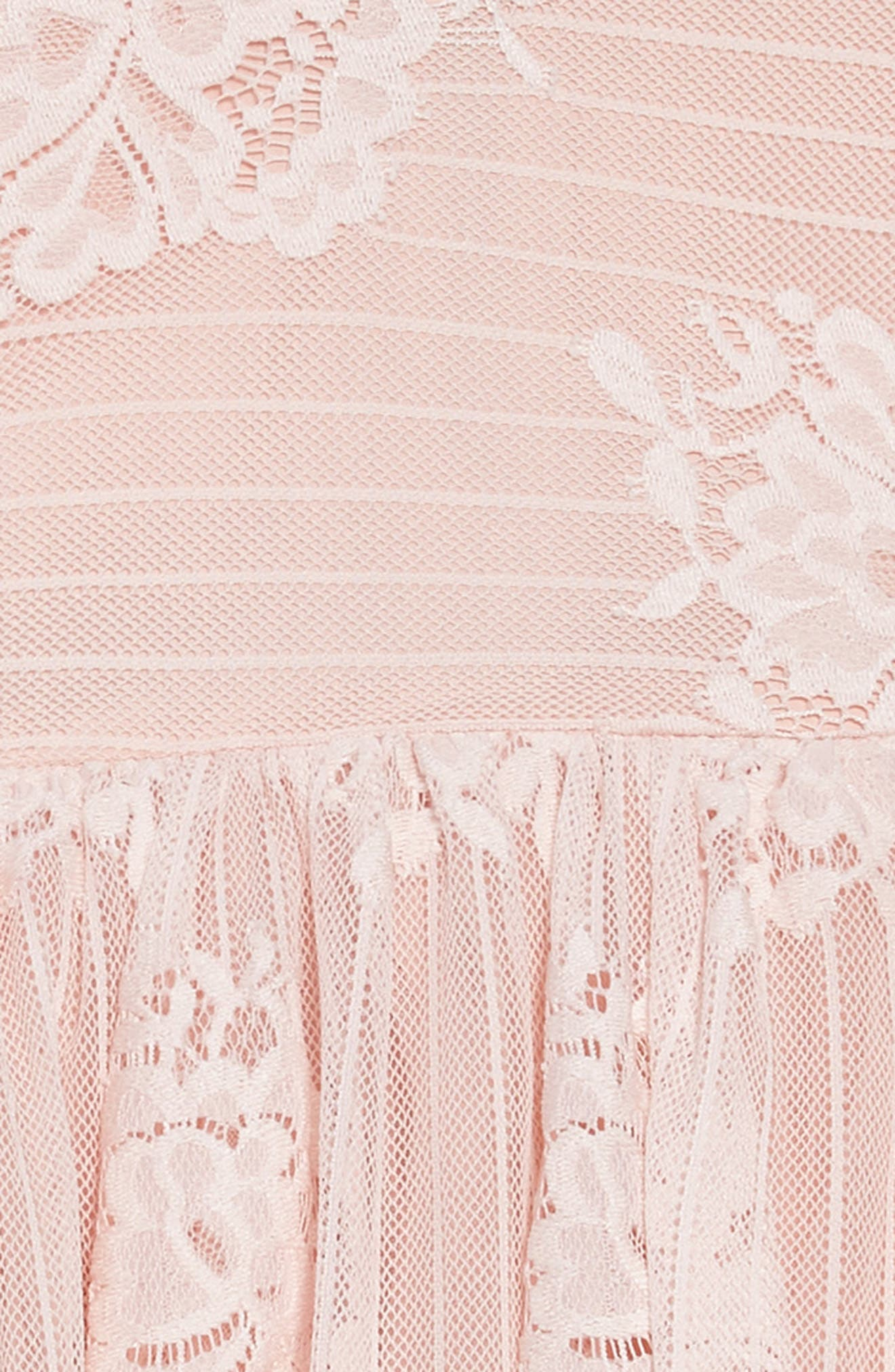 Lace Fit & Flare Dress,                             Alternate thumbnail 3, color,                             Pink