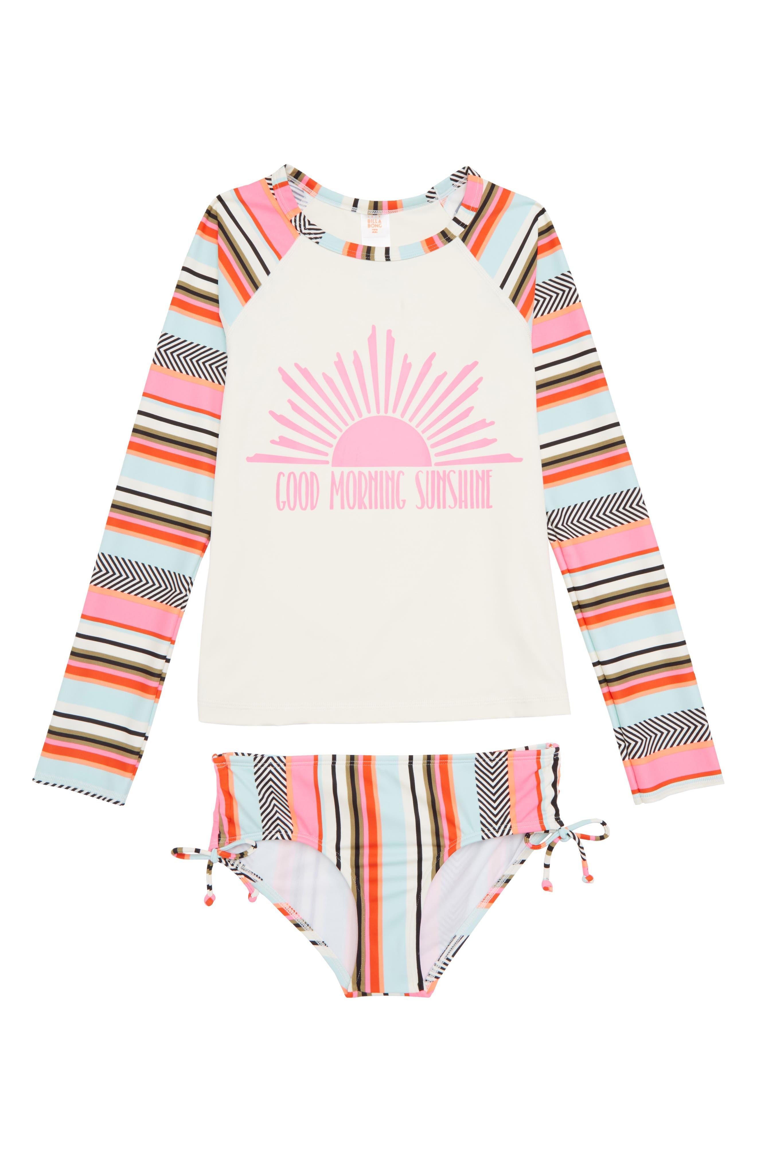 Good Morning Sunshine Two-Piece Rashguard Swimsuit,                             Main thumbnail 1, color,                             Multi