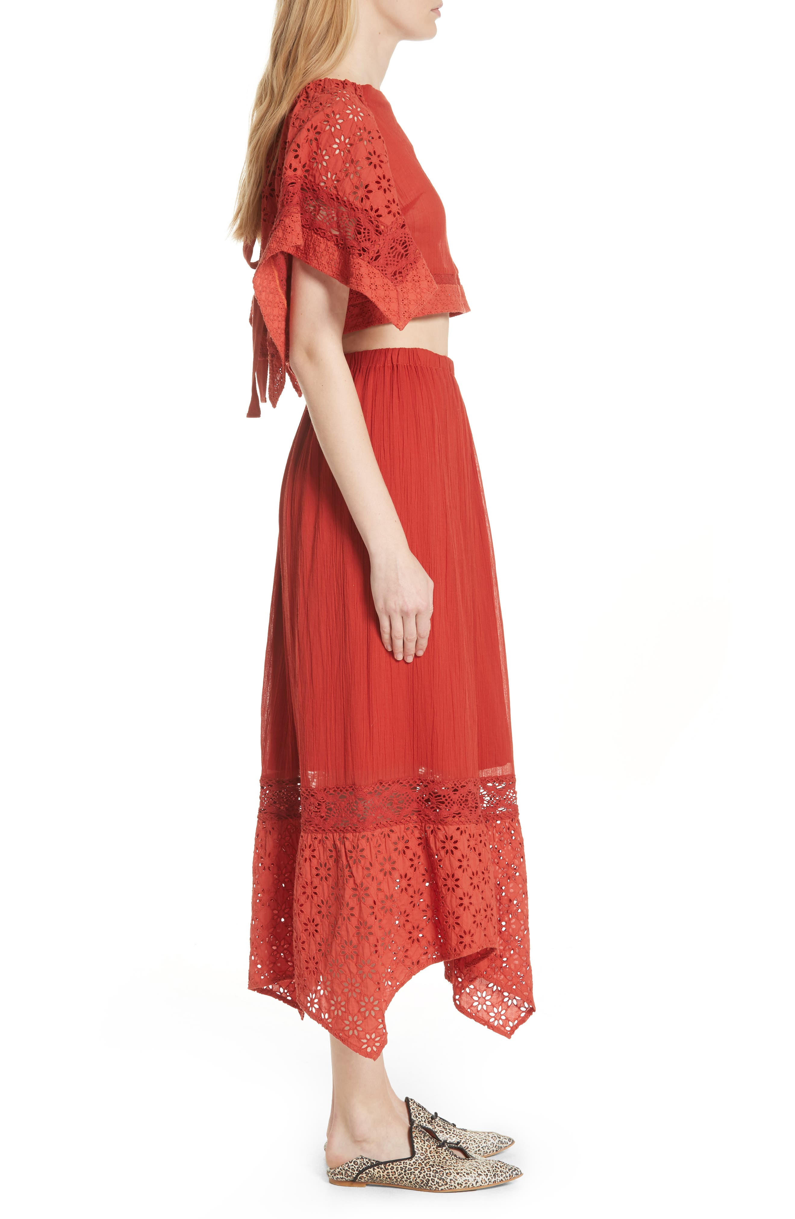 Free People Darling Top & Skirt,                             Alternate thumbnail 3, color,                             Red