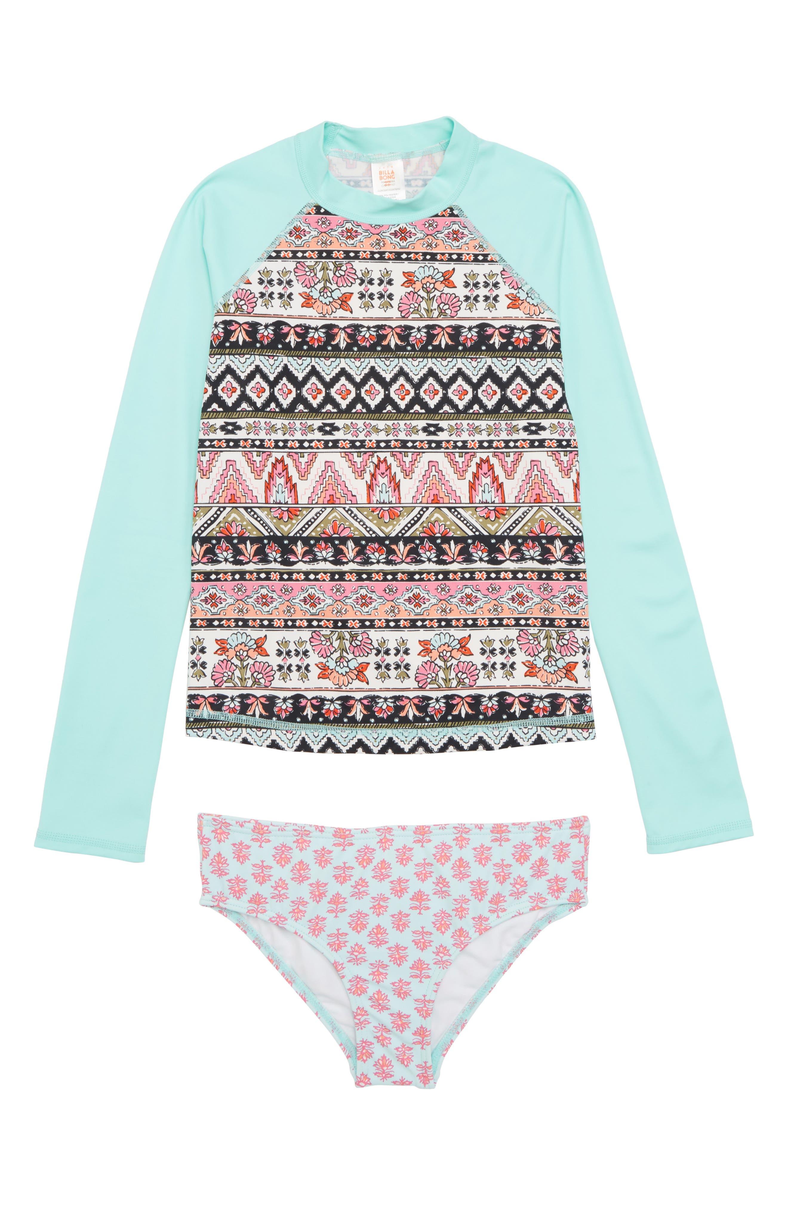 Moon Tribe Two-Piece Rashguard Swimsuit,                         Main,                         color, Multi