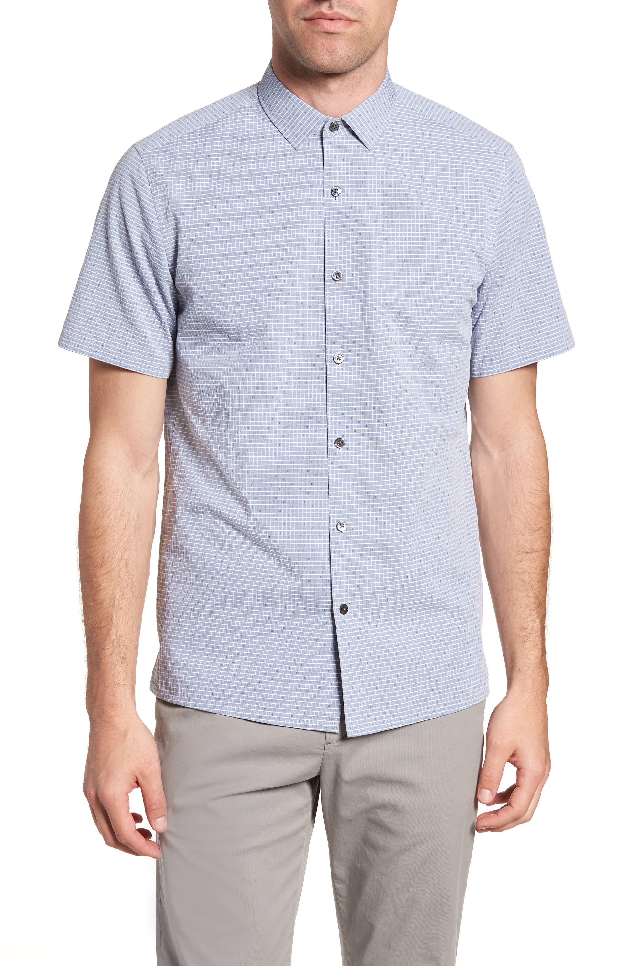 Murray Trim Fit Check Short Sleeve Sport Shirt,                             Main thumbnail 1, color,                             Eclipse Multi