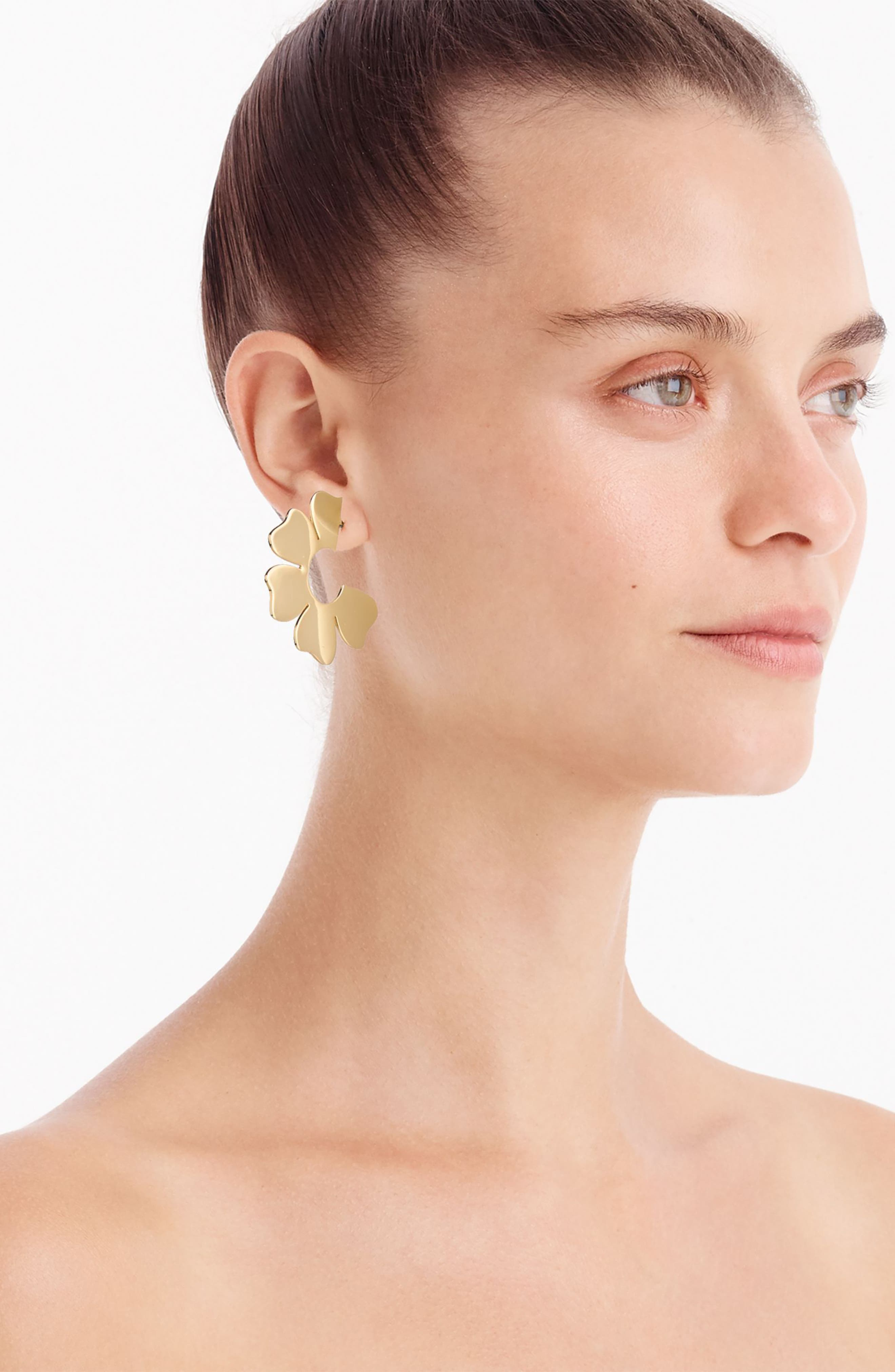 J.Crew Flat Flower Hoop Earrings,                             Alternate thumbnail 3, color,                             Gold