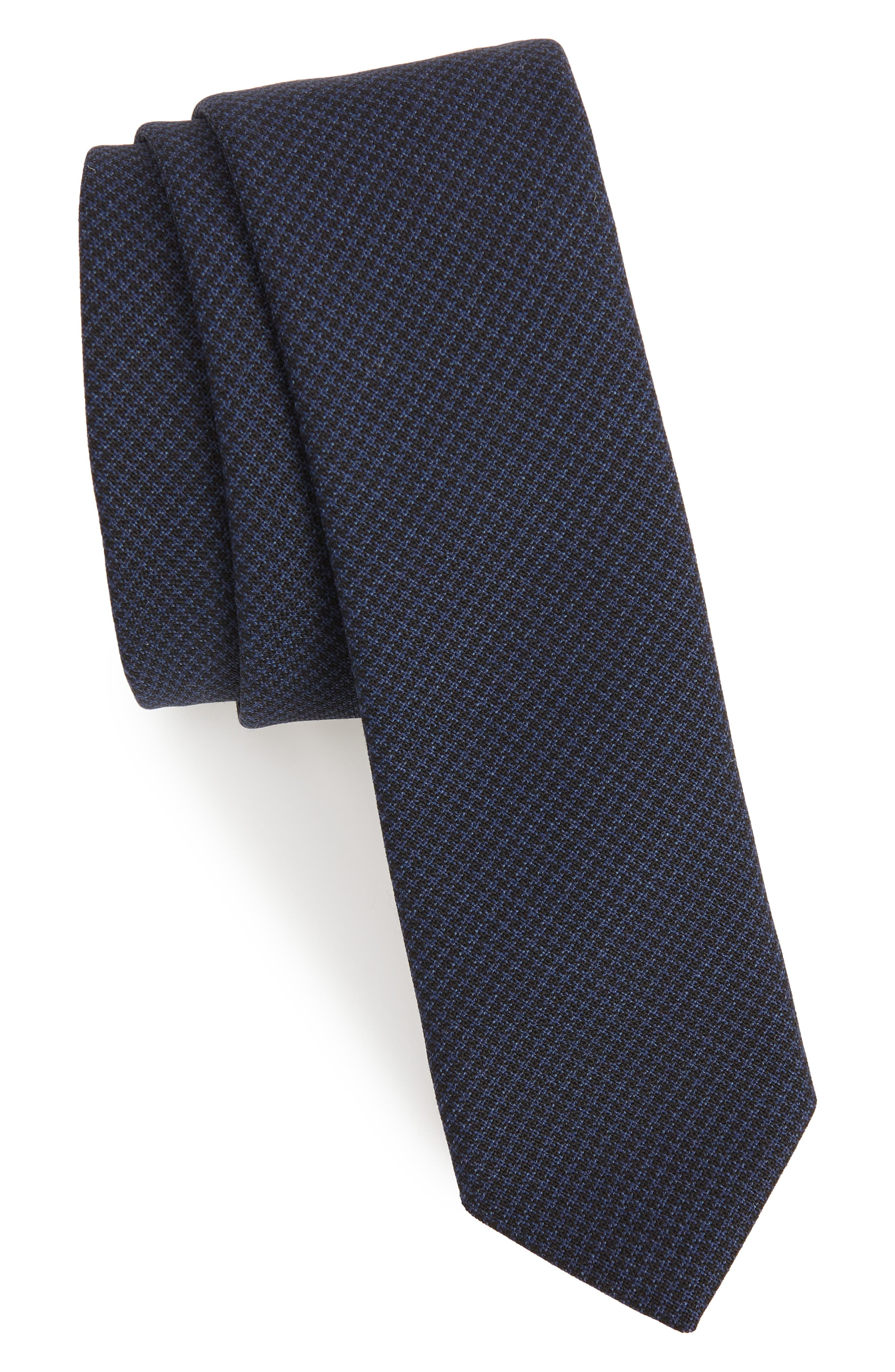 Houndstooth Wool Skinny Tie,                             Main thumbnail 1, color,                             Navy Blue