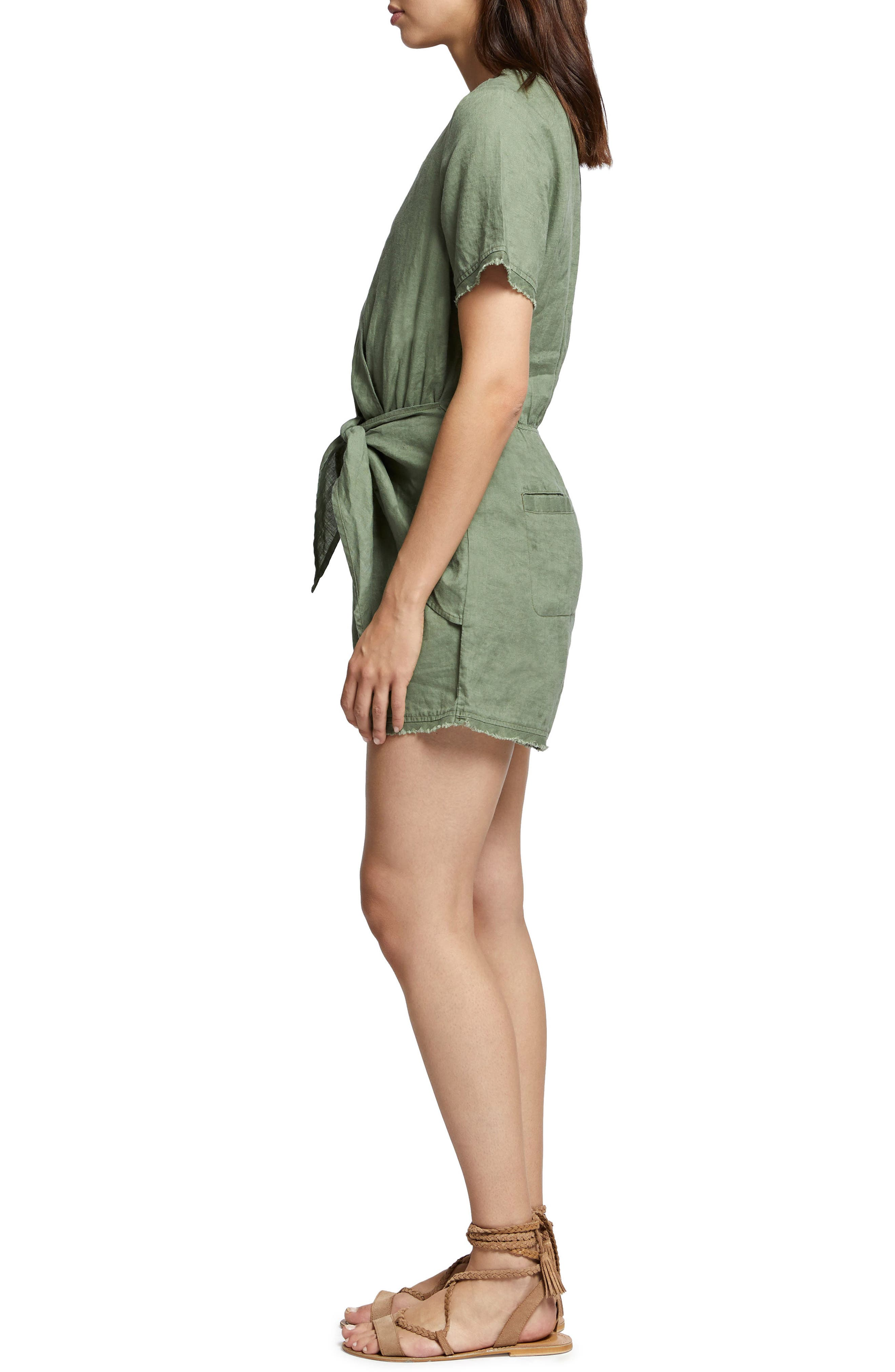 Date Palm Linen Romper,                             Alternate thumbnail 3, color,                             Cadet