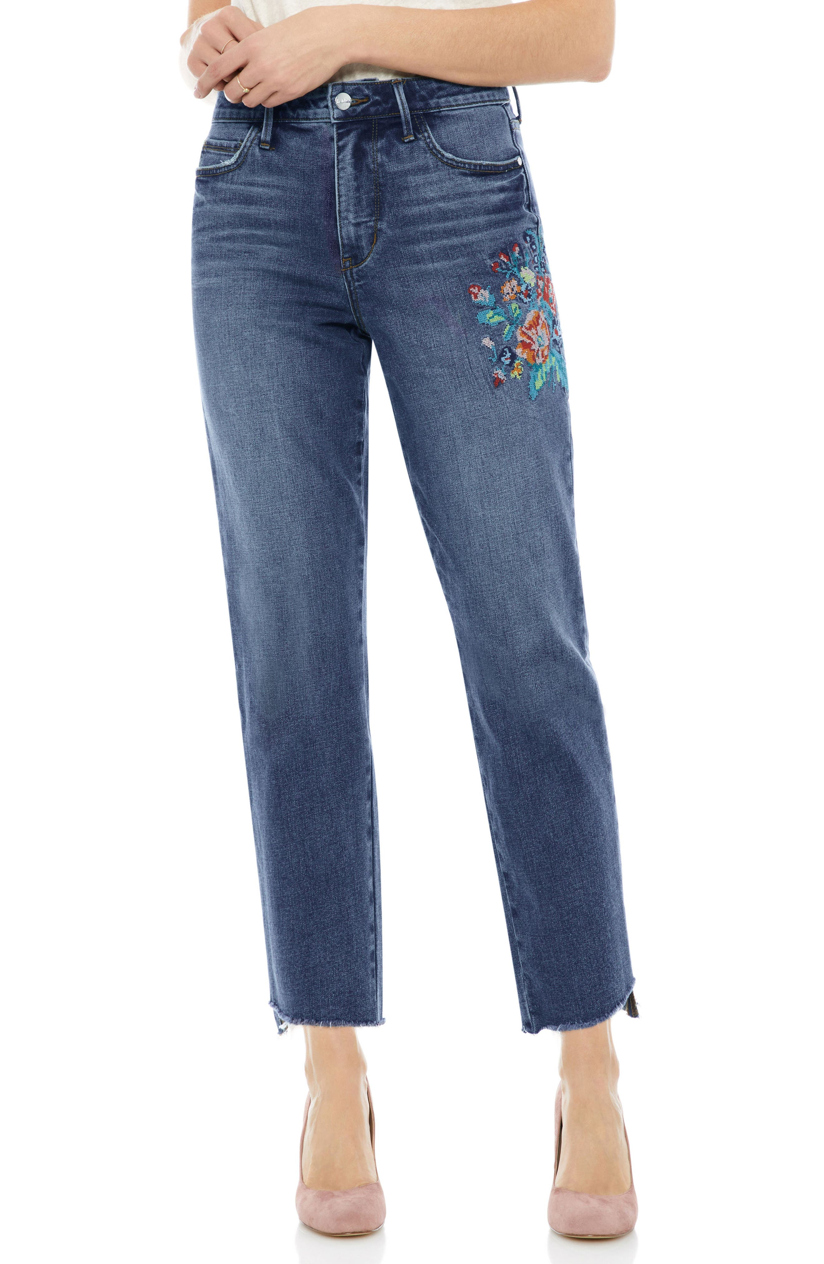 The Mary Jane Floral Accent Step Hem Jeans,                             Main thumbnail 1, color,                             Harlin