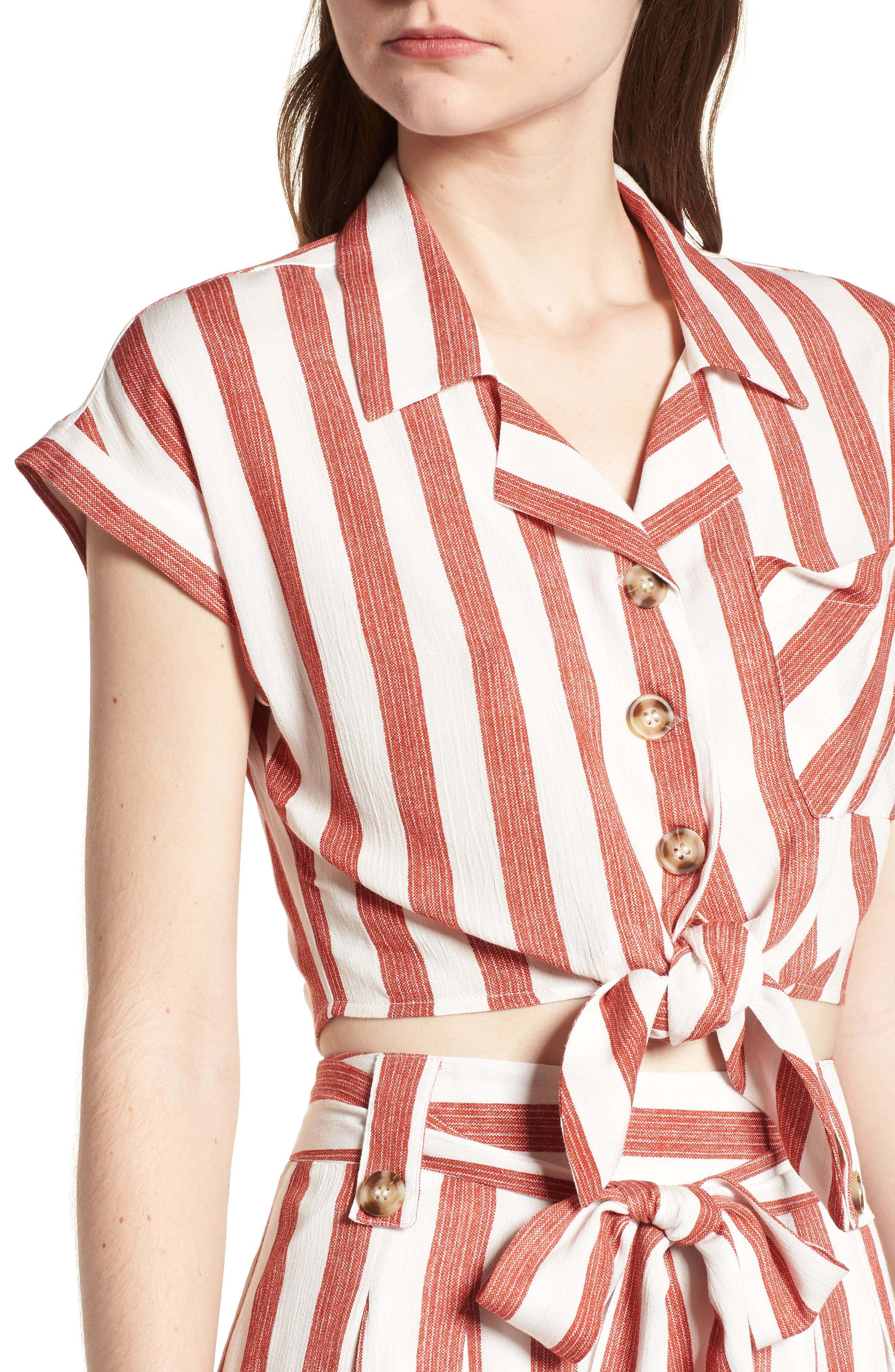 Stripe Tie Front Top,                             Alternate thumbnail 6, color,                             Red/ Ivory