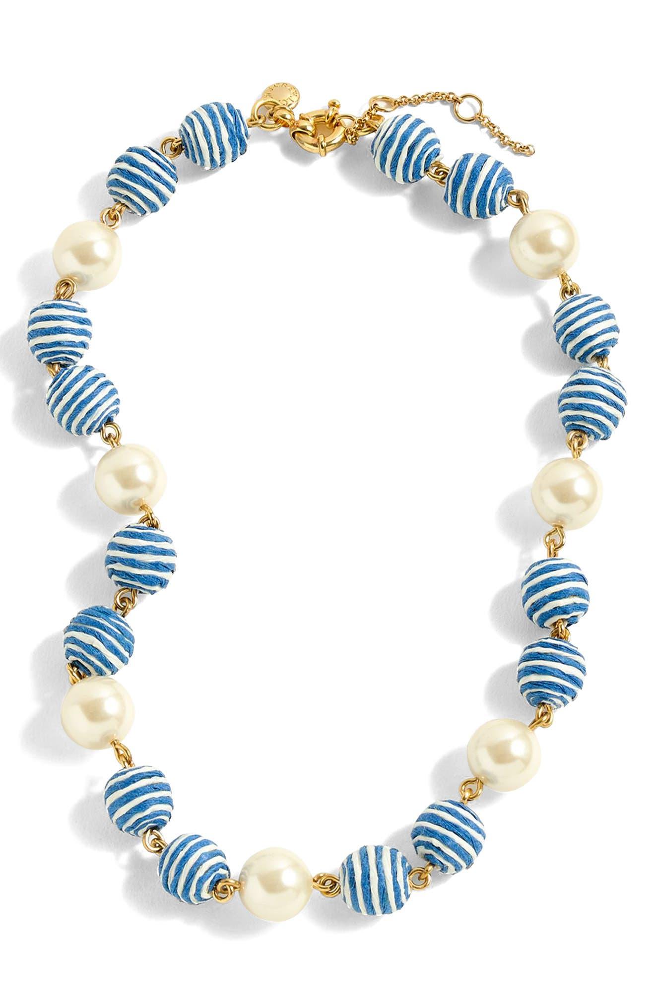 J.Crew Stripe Bead & Glass Pearl Necklace