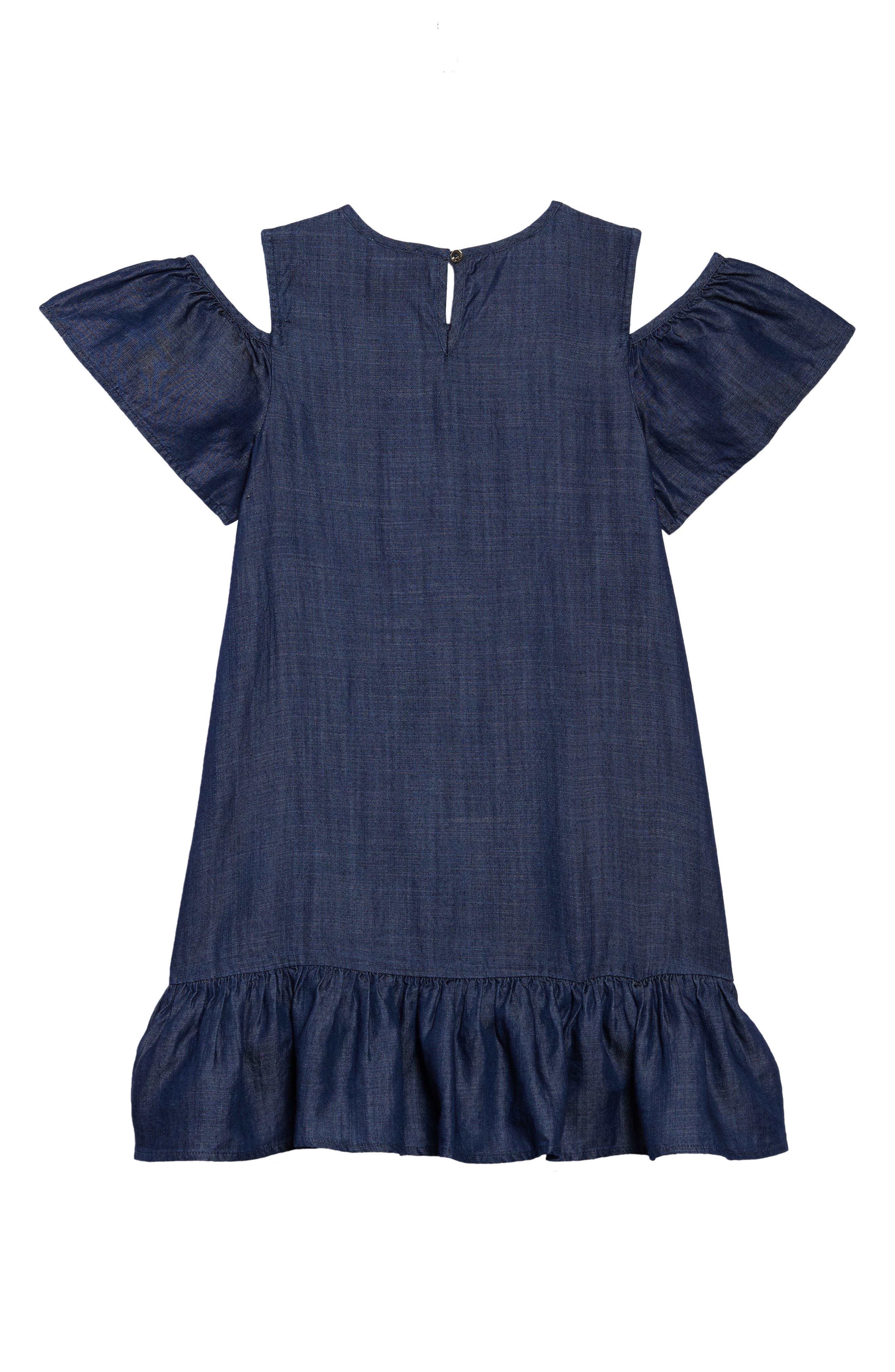 chambray cold shoulder dress,                             Alternate thumbnail 2, color,                             Dark Wash