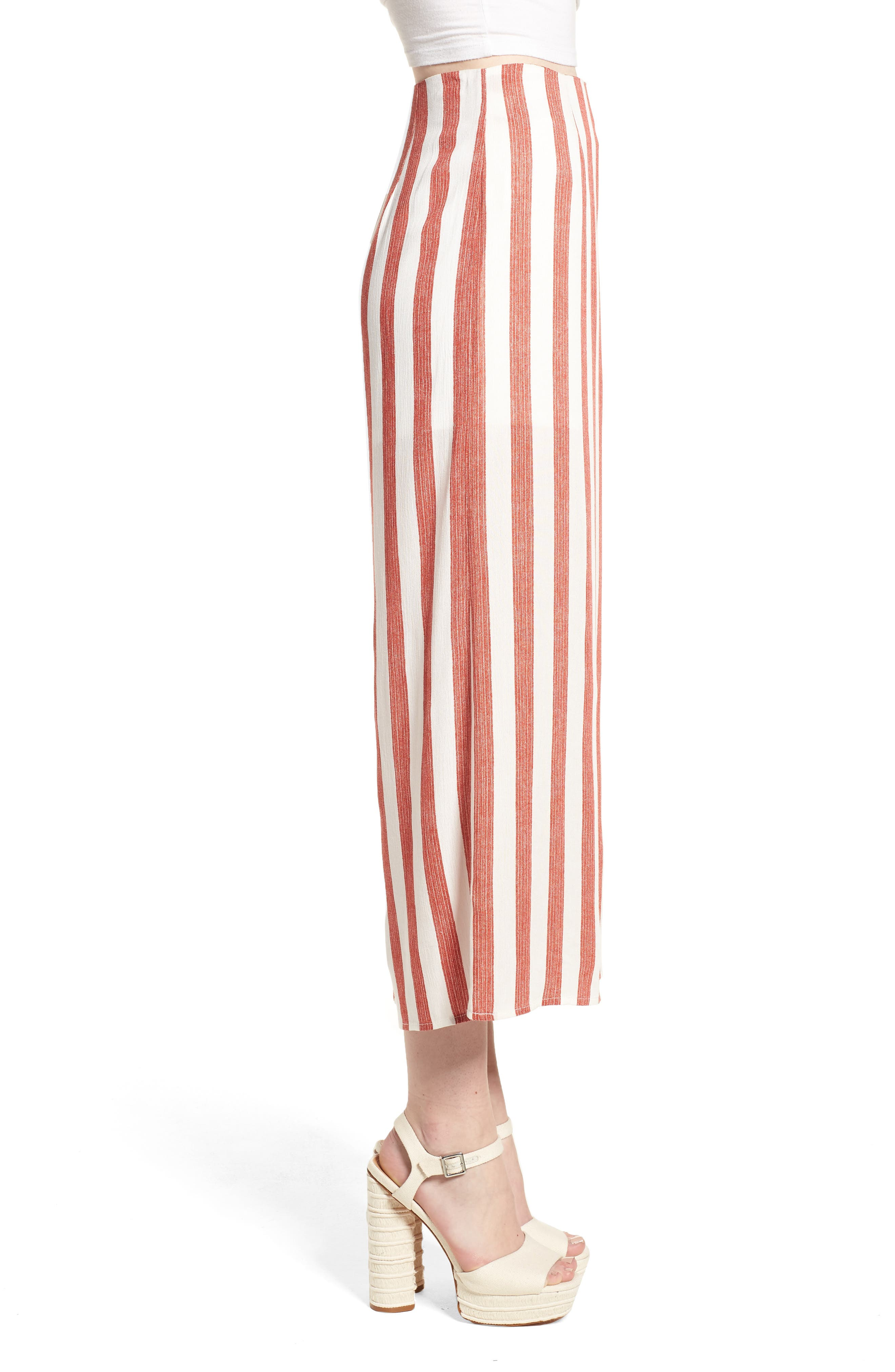 Stripe Culottes,                             Alternate thumbnail 4, color,                             Red/ Ivory
