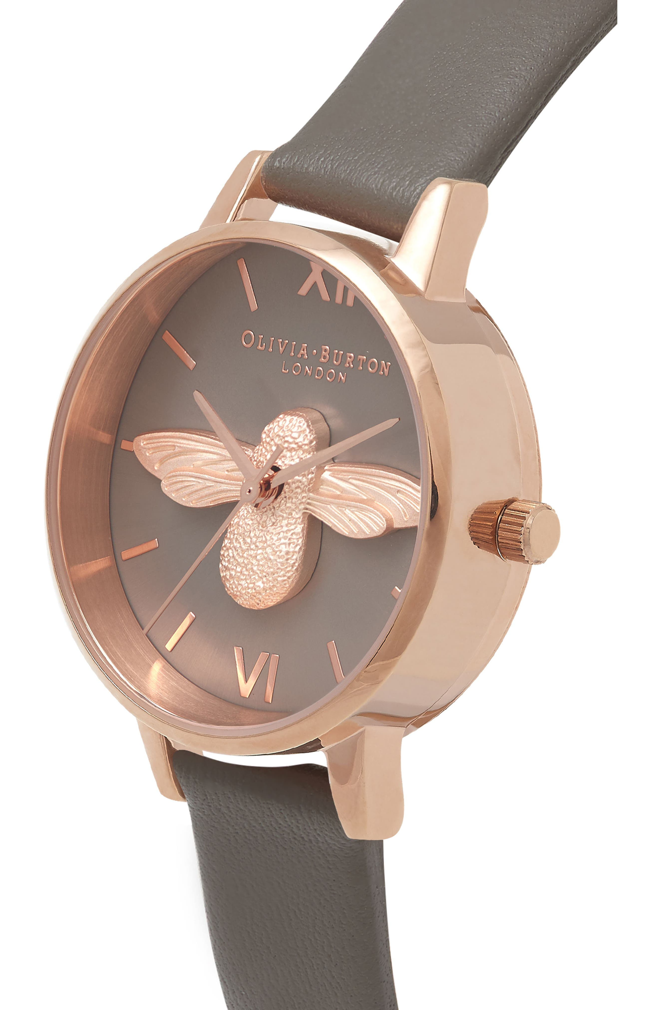 3D Bee Leather Strap Watch, 30mm,                             Alternate thumbnail 3, color,                             London Grey/ Bee/ Rose Gold