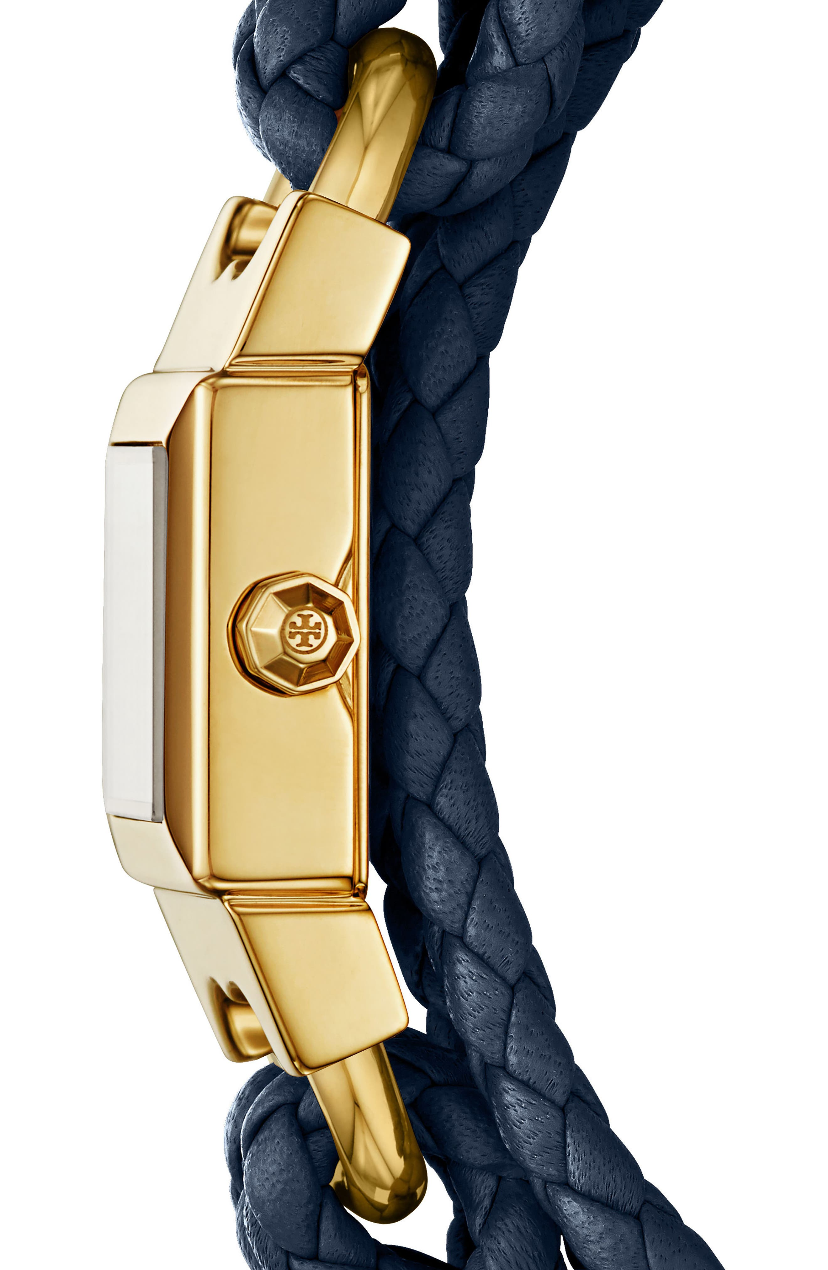 Gemini Link Square Leather Strap Watch, 18mm,                             Alternate thumbnail 2, color,                             Navy/ Cream/ Gold