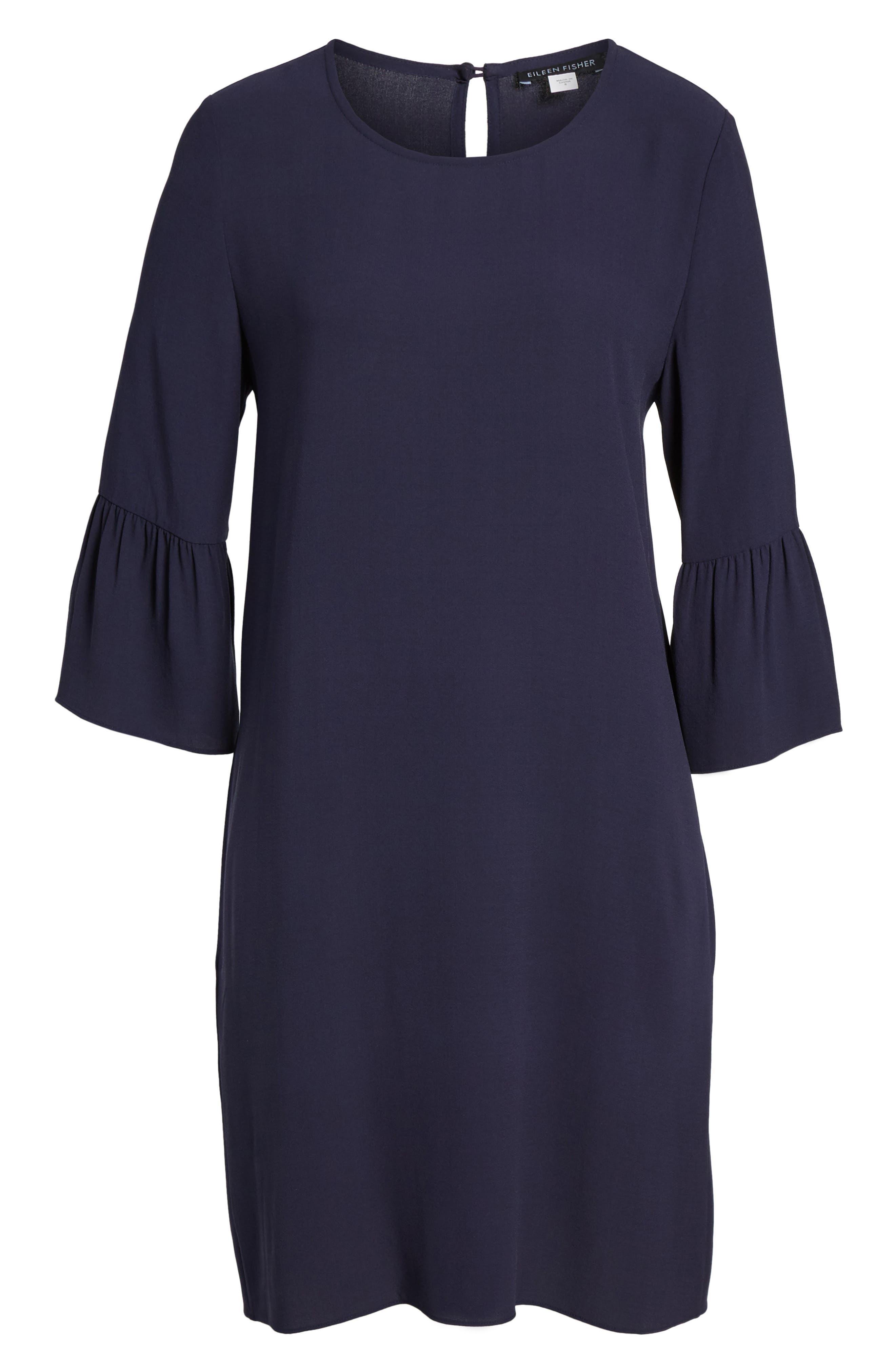 Flare Sleeve Silk Dress,                             Alternate thumbnail 6, color,                             Salt Lake