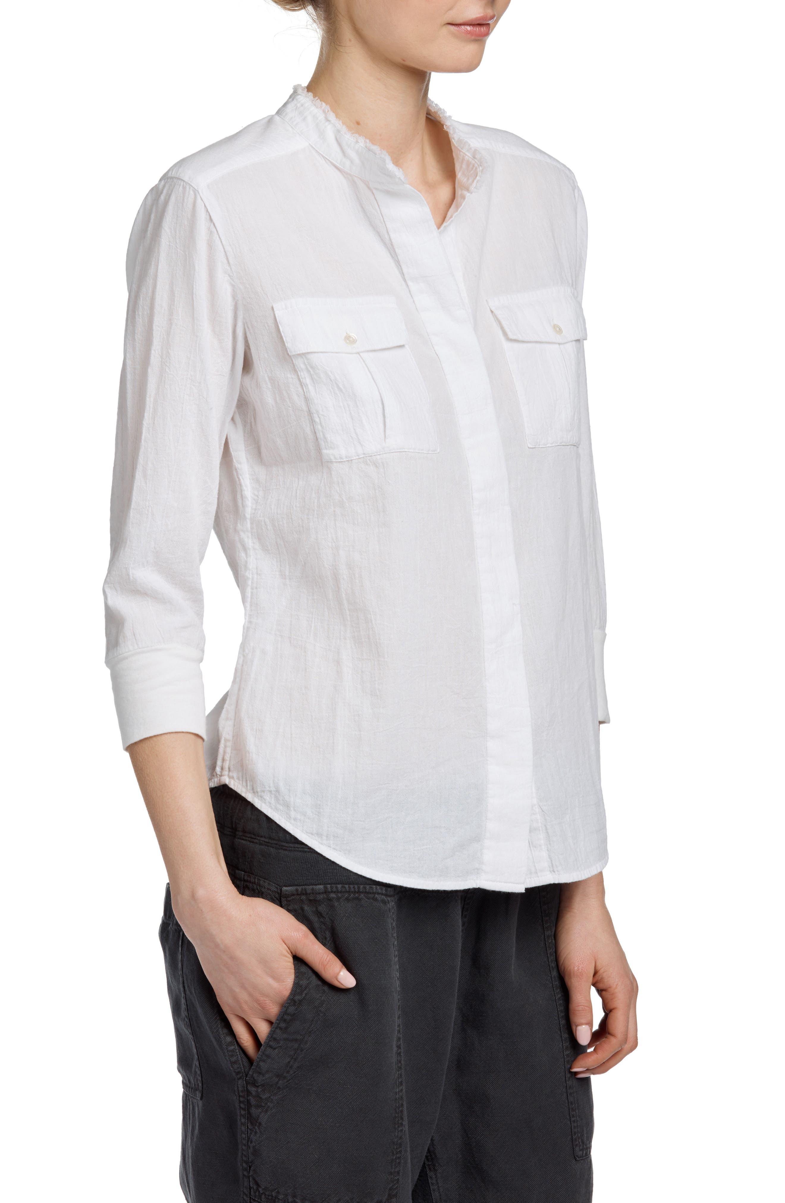 Frayed Collar Long Sleeve Shirt,                             Alternate thumbnail 3, color,                             White