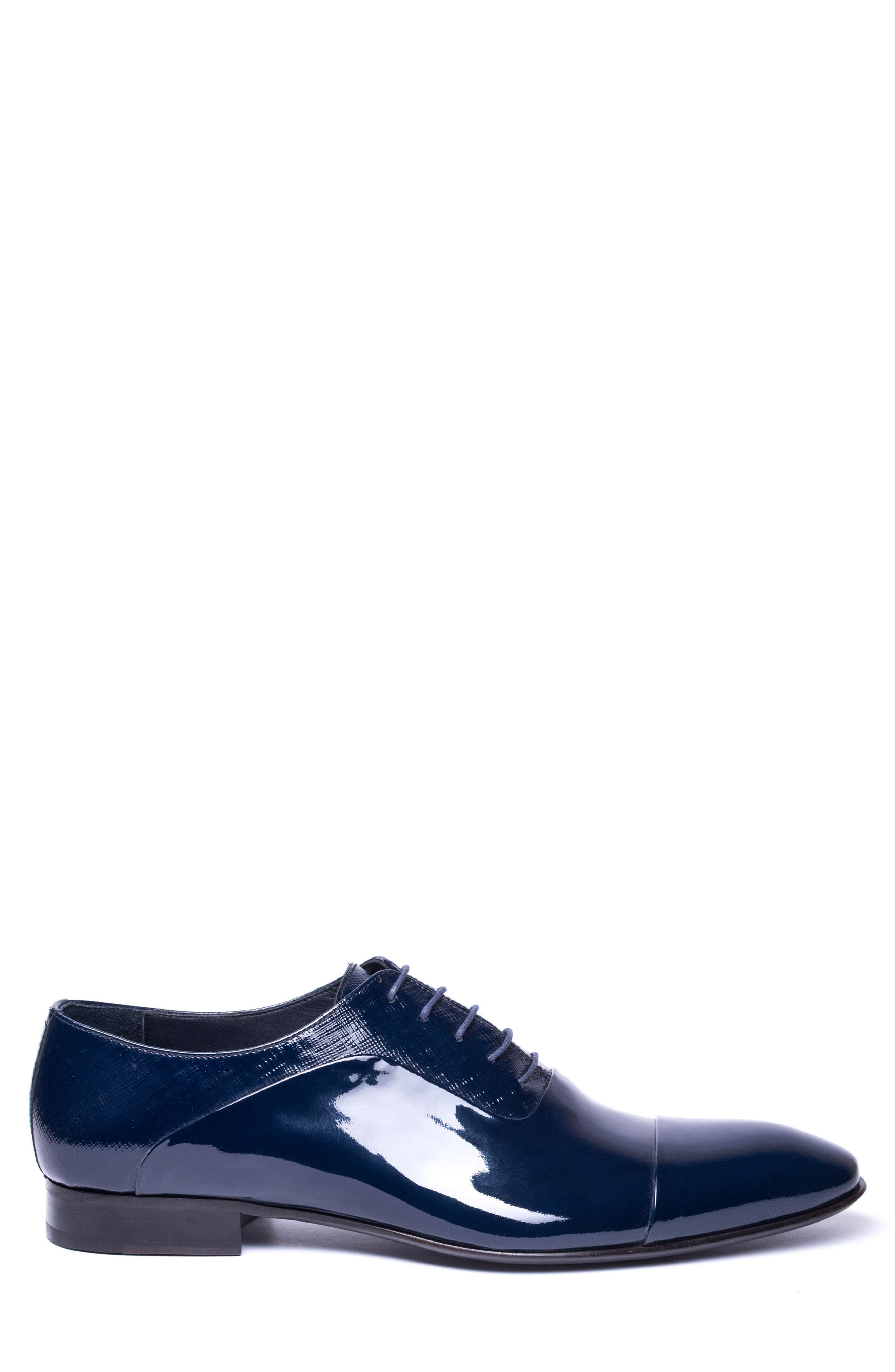 Jimmy Cap Toe Oxford,                             Alternate thumbnail 3, color,                             Navy Leather