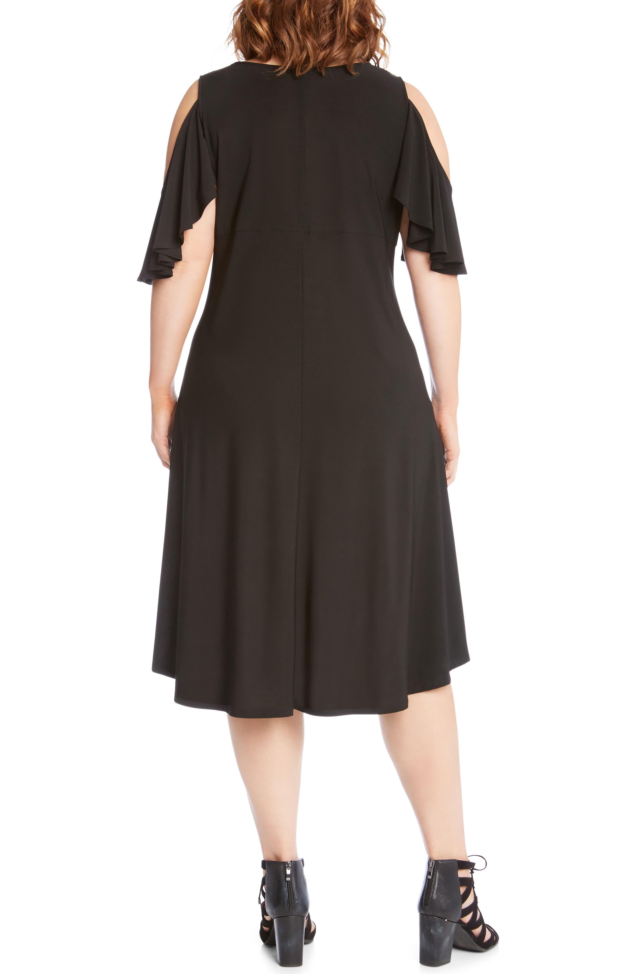 Cold Shoulder High/Low Shift Dress,                             Alternate thumbnail 2, color,                             Black